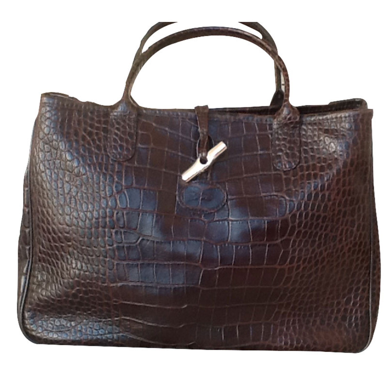 Sac Longchamp Roseau Fushia : Sacs ? main longchamp roseau fa?on croco cuir marron ref