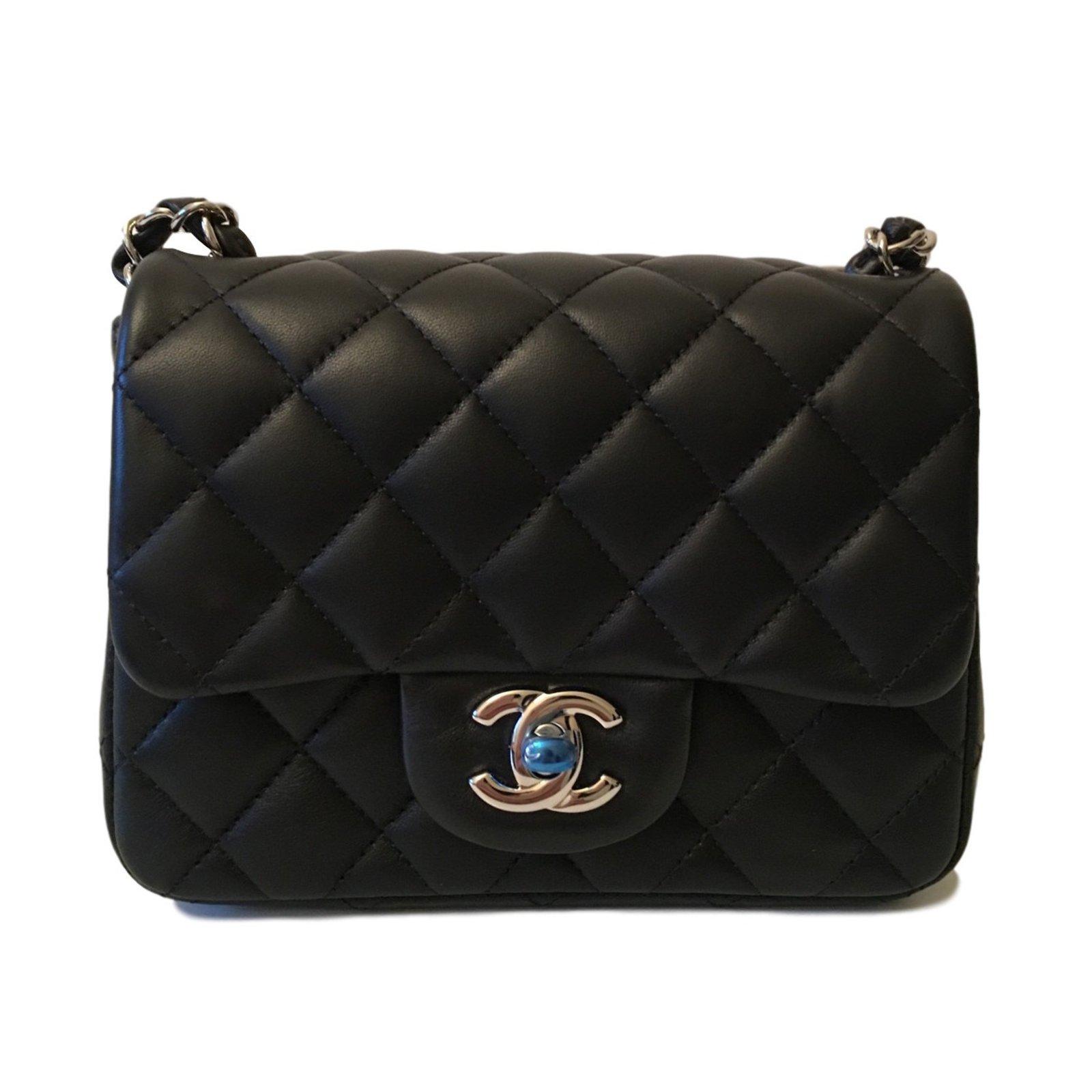 Chanel Timeless Mini Square Handbags Lambskin Black Ref 27591