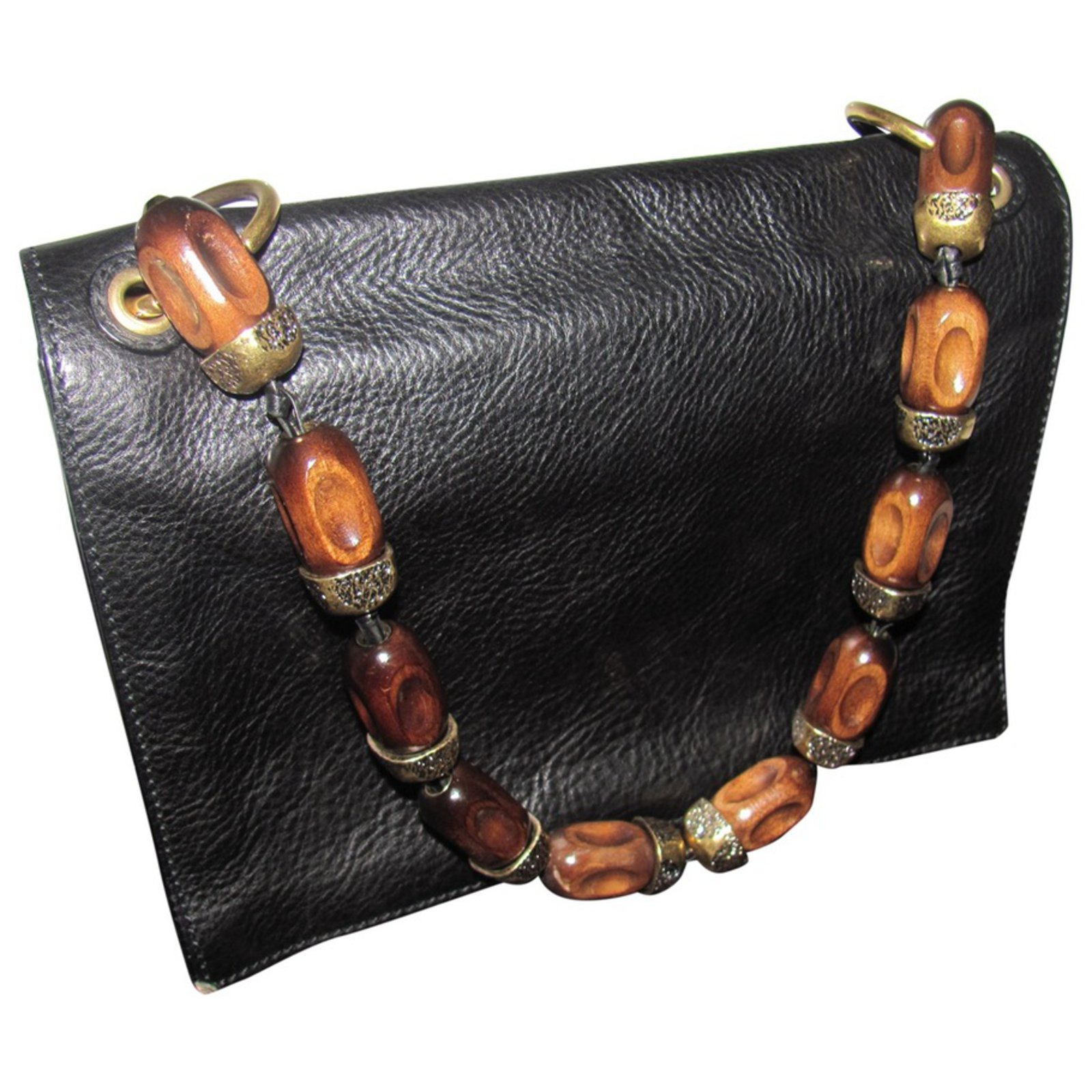 Yves Saint Laurent Handbag Handbags Leather Black ref.27750 - Joli ... 9a1a55a5a9cea