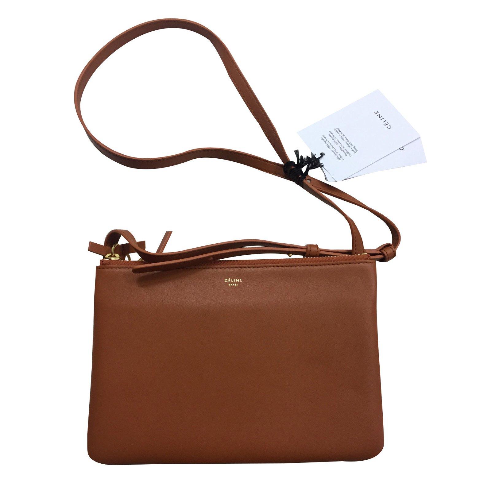 Céline Trio Handbags Leather Caramel Ref 27982