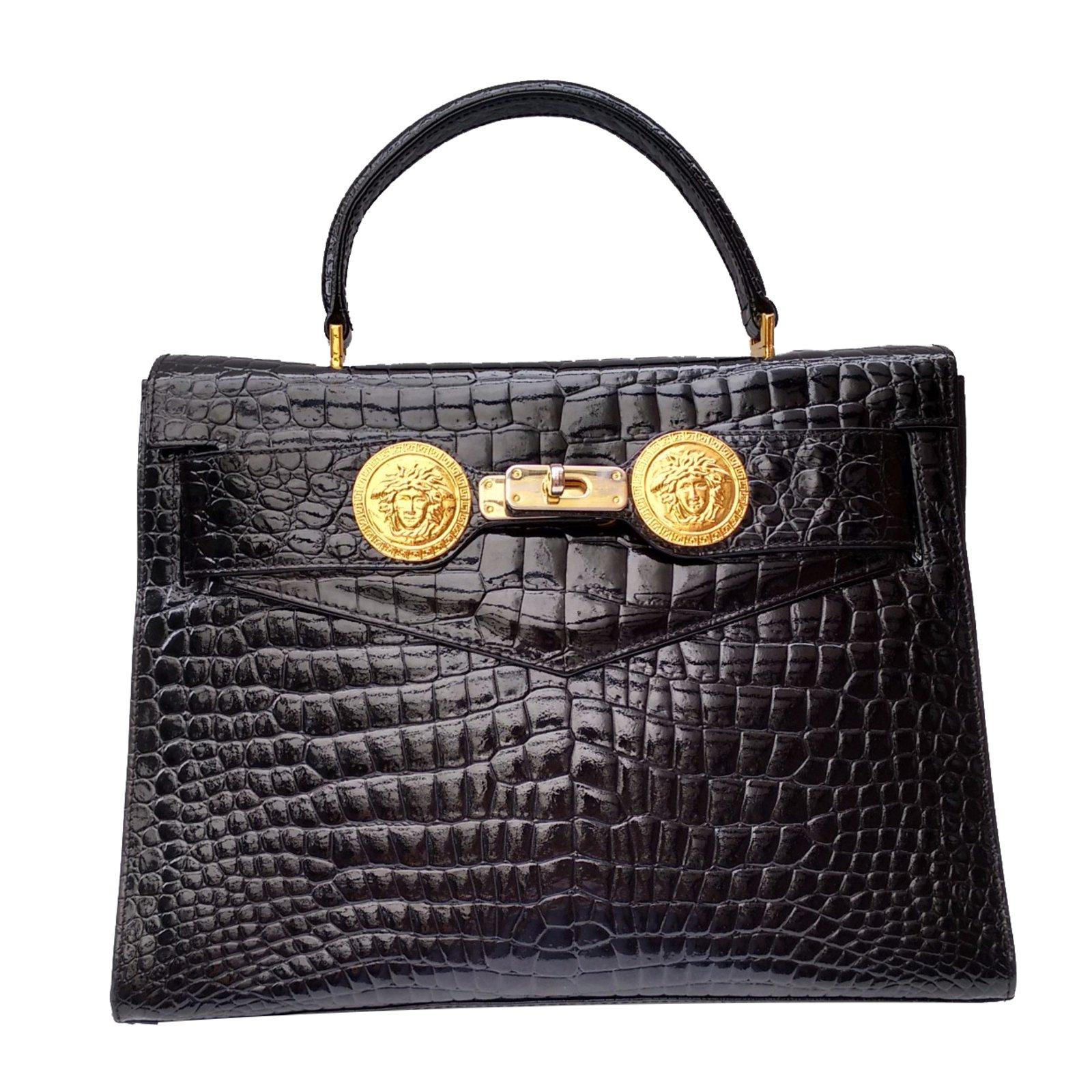 Gianni Versace Handbag Handbags Patent leather Black ref.28199 ... 85c957d832bf0