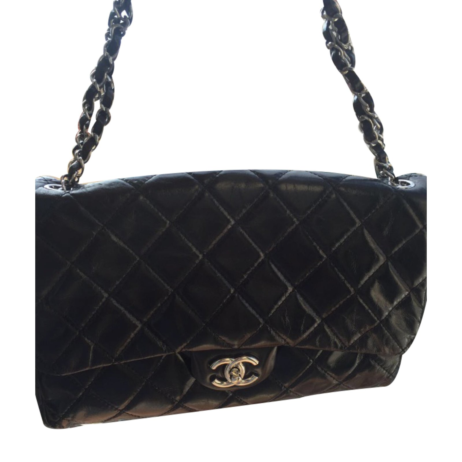 633533e2a390e9 Chanel Timeless Handbags Linen Black ref.28398 - Joli Closet