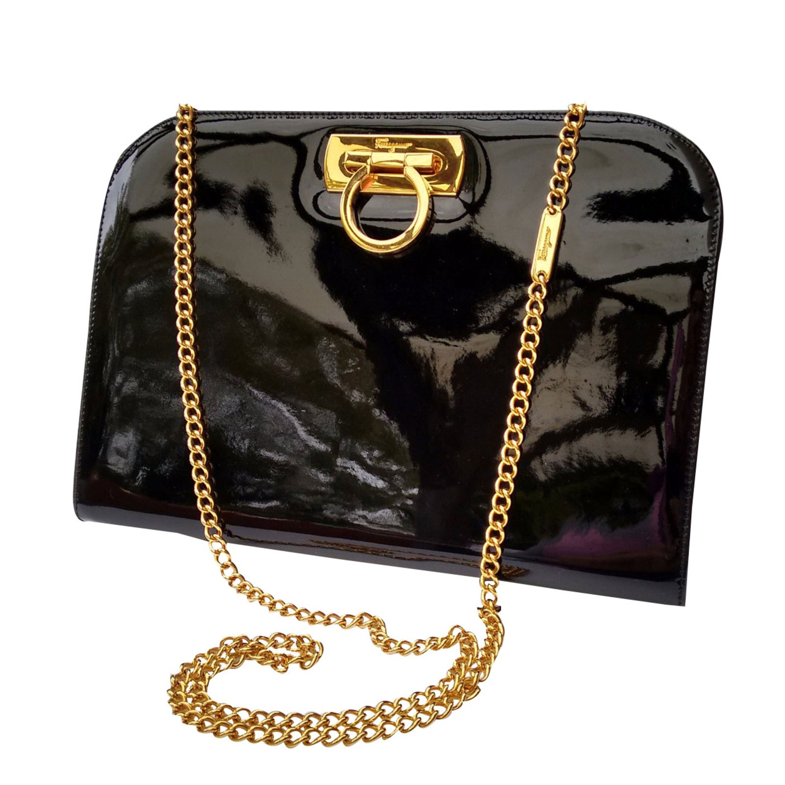 0e0bc17da Salvatore Ferragamo Handbag Handbags Patent leather Black ref.28496 ...