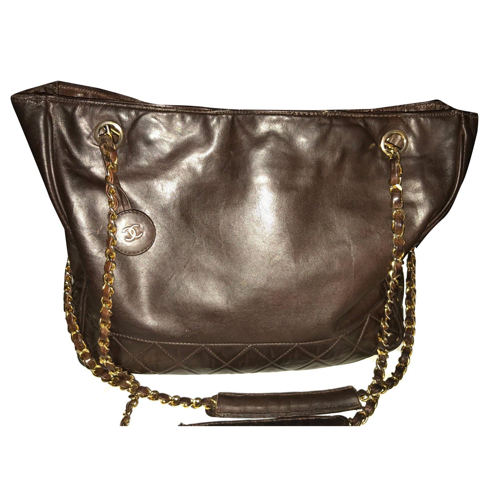 2a400e5ab3340 Sacs à main Chanel Sac shopping Cuir Marron ref.28624 - Joli Closet