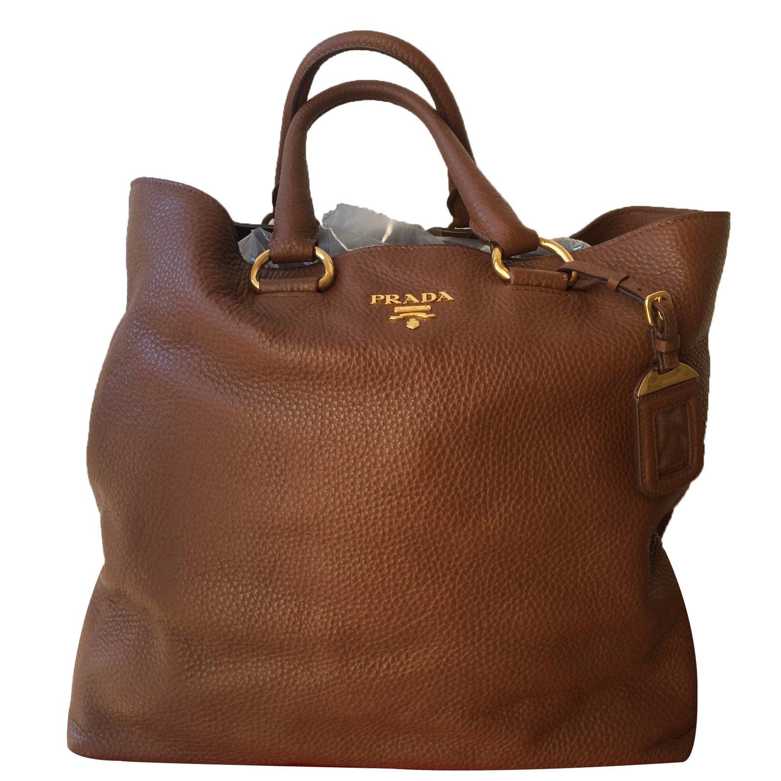 Prada Handbag Handbags Leather Brown Ref 28714 Joli Closet