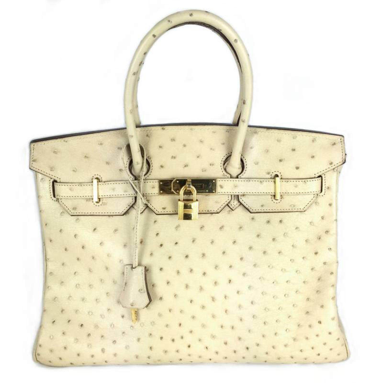 Sacs à main Hermès Birkin 35 Autruche Parchemin Cuirs exotiques Beige  ref.22292 12f1a0335c6