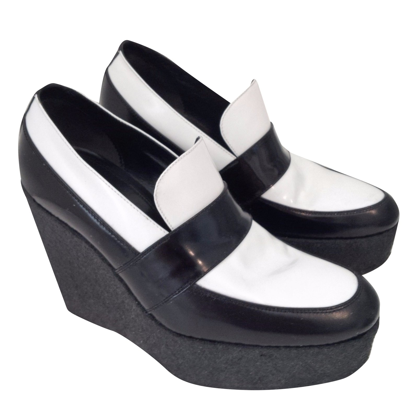 Céline Wedge Loafers Heels Leather
