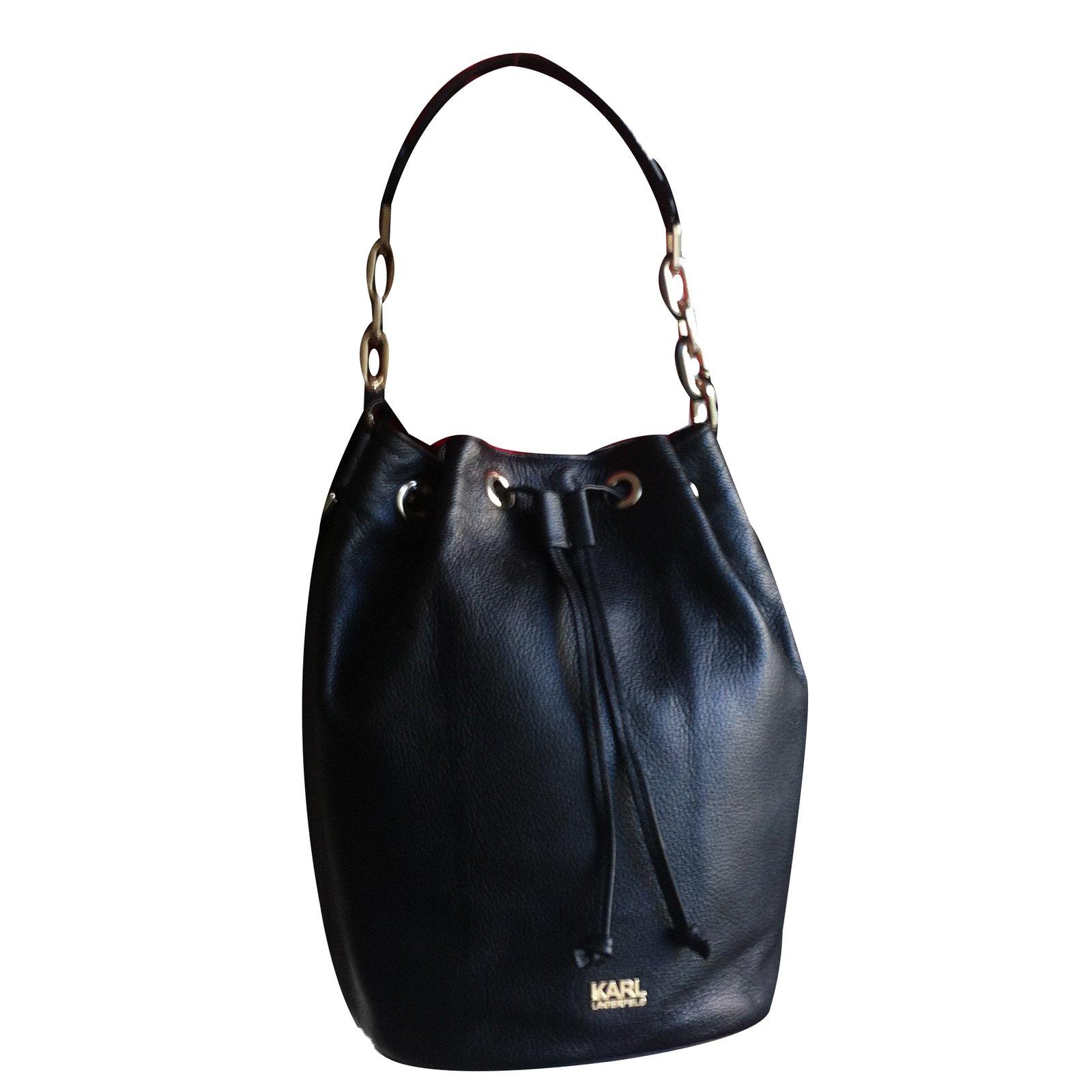 Karl Lagerfeld Bucket Bag Handbags Leather Black Ref 29269