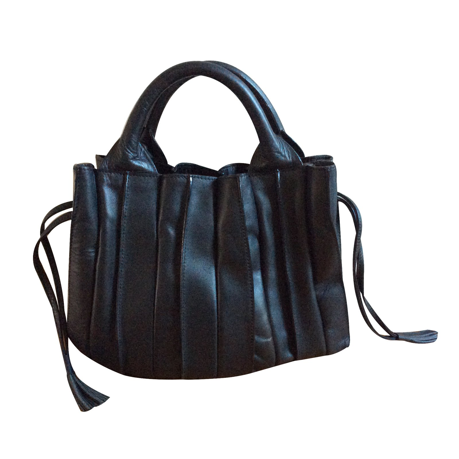 Autre Marque Lupo Handbag Handbags Leather Black Ref 29358