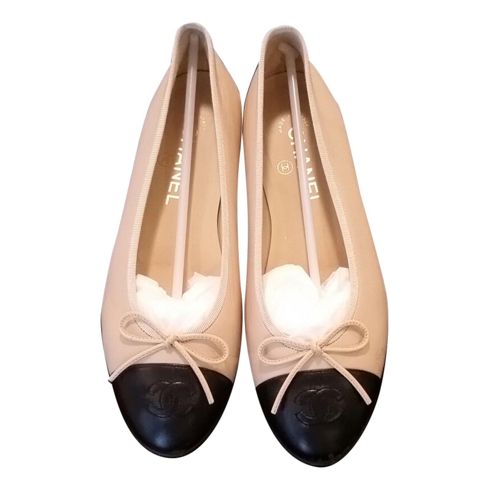 promo code e5ca4 2116c Chanel Beige/Black Two-Tone Ballerina Flats