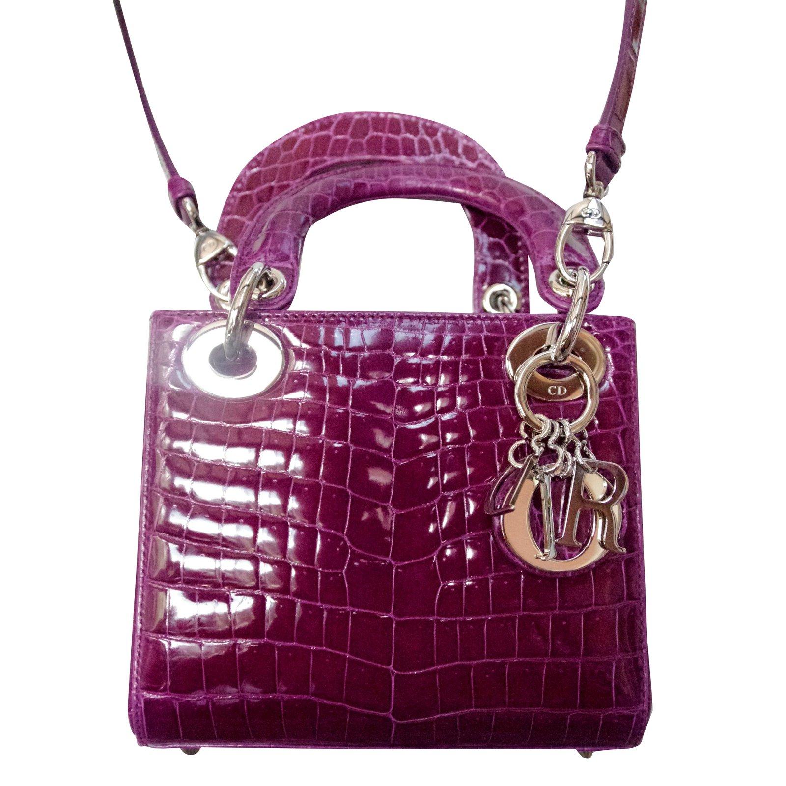 dior mini lady dior handbags exotic leather purple joli closet. Black Bedroom Furniture Sets. Home Design Ideas