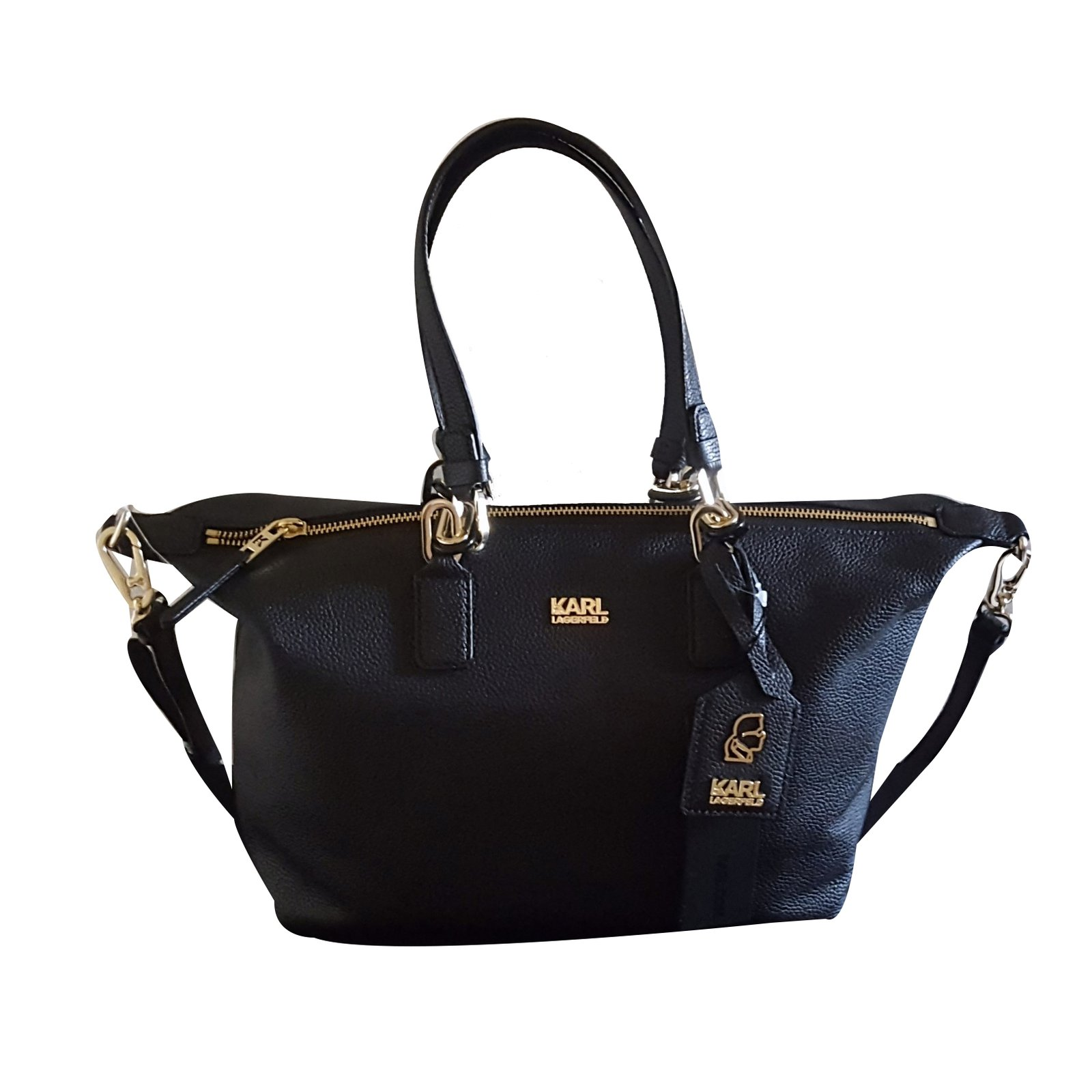 Karl Lagerfeld Handbag Handbags Leather Black Ref 30948