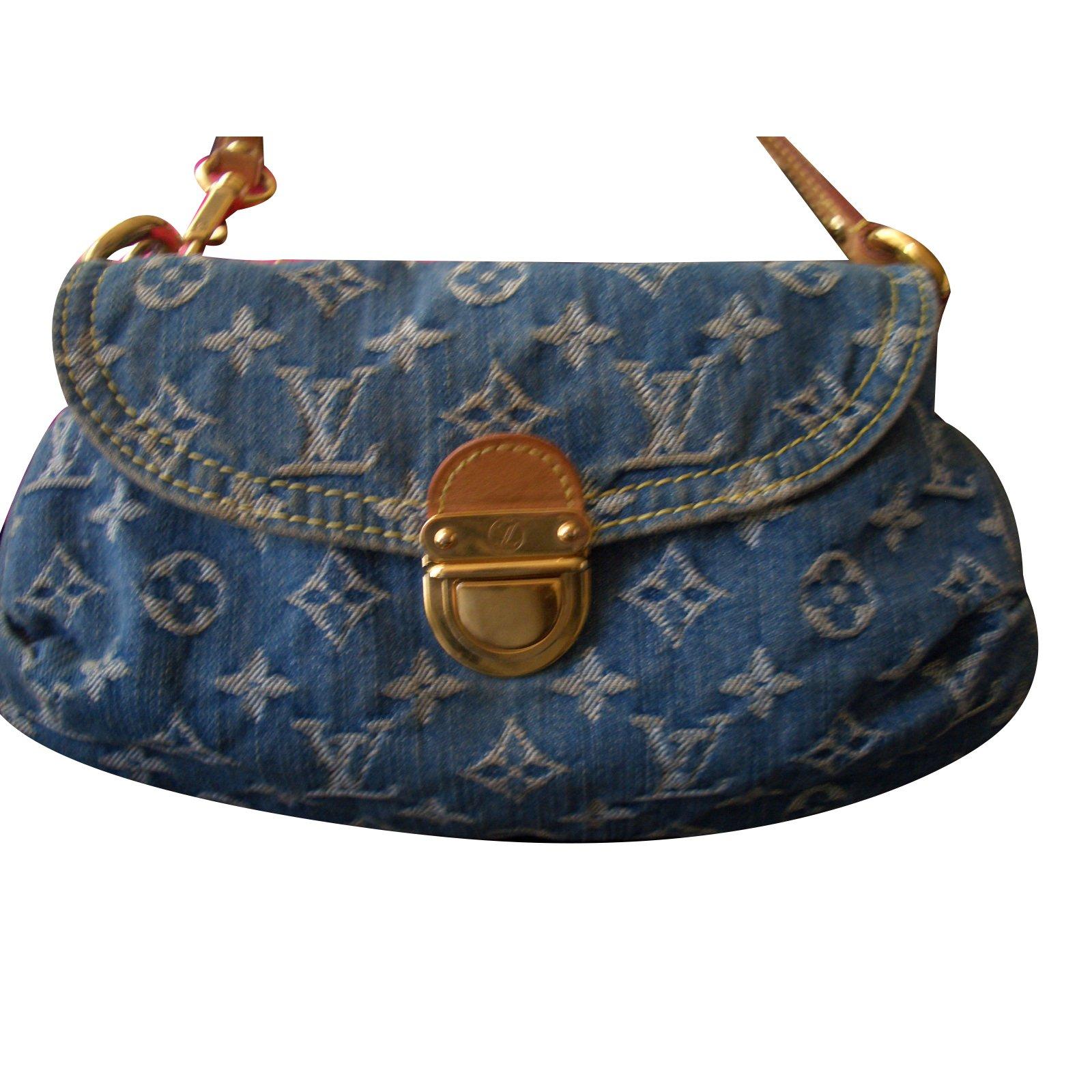 Louis Vuitton Handbag Handbags Denim Blue Ref 31391