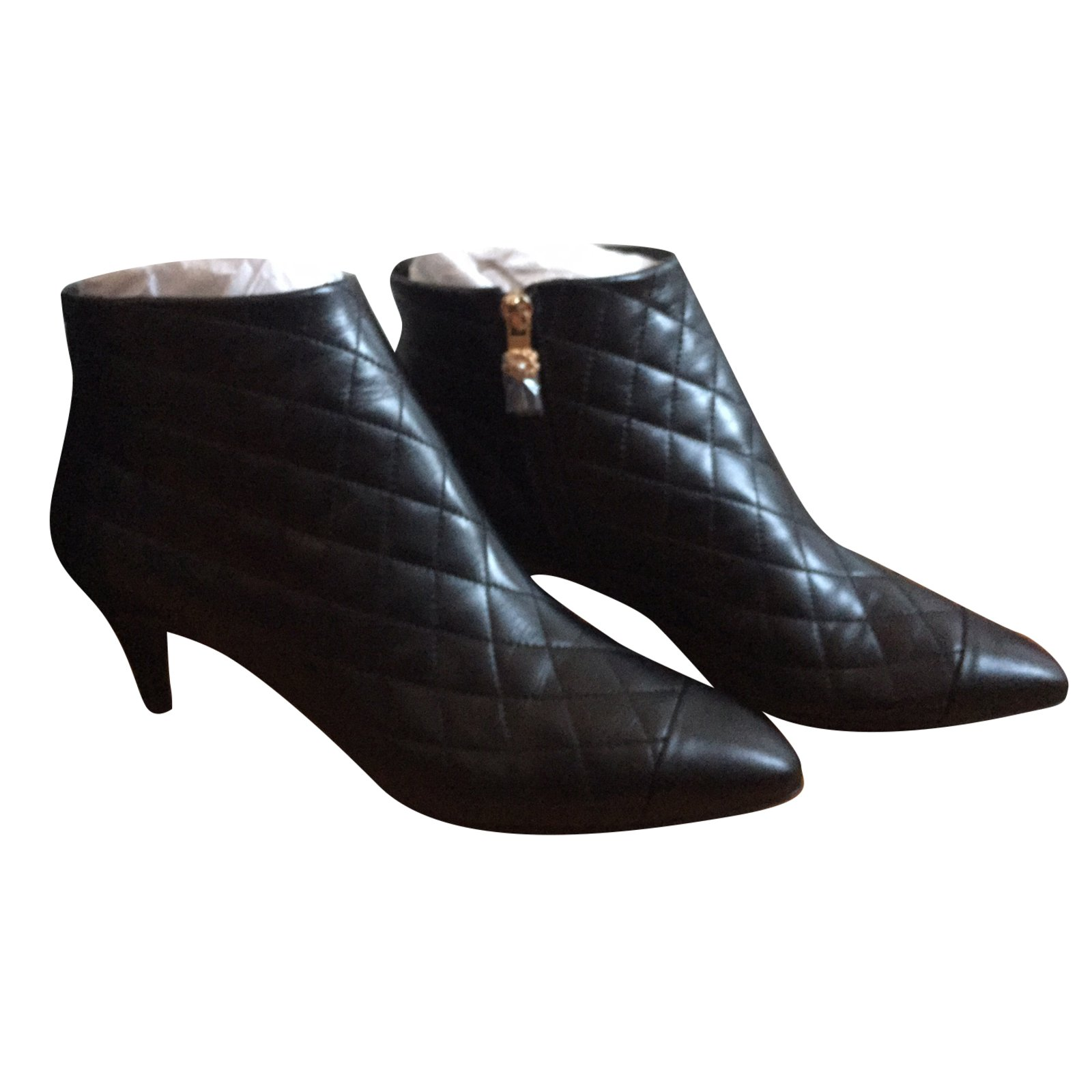 Chanel Ankle Boots Ankle Boots Leather Black Ref 31497