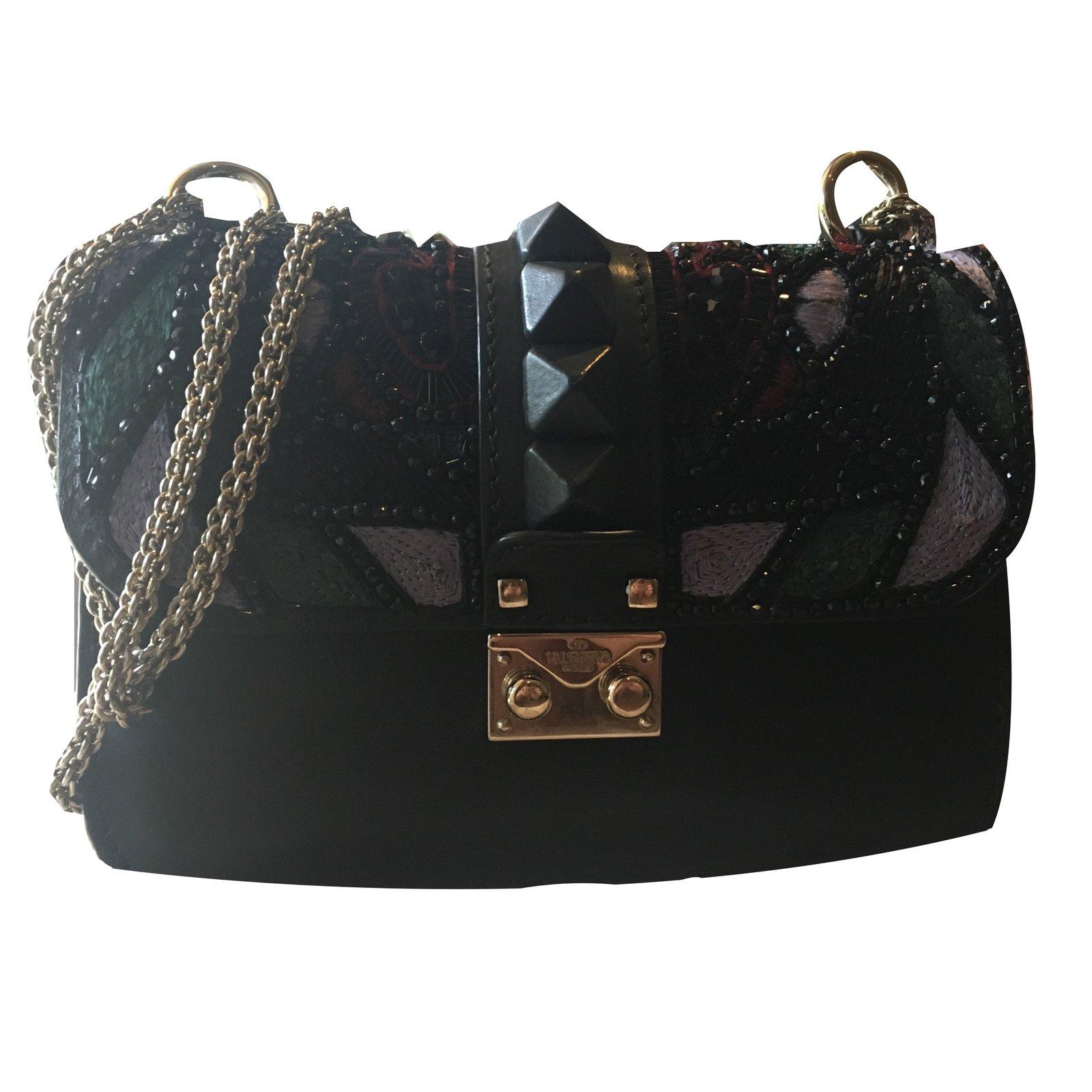 sacs main valentino glam lock cuir perle noir multicolore joli closet. Black Bedroom Furniture Sets. Home Design Ideas