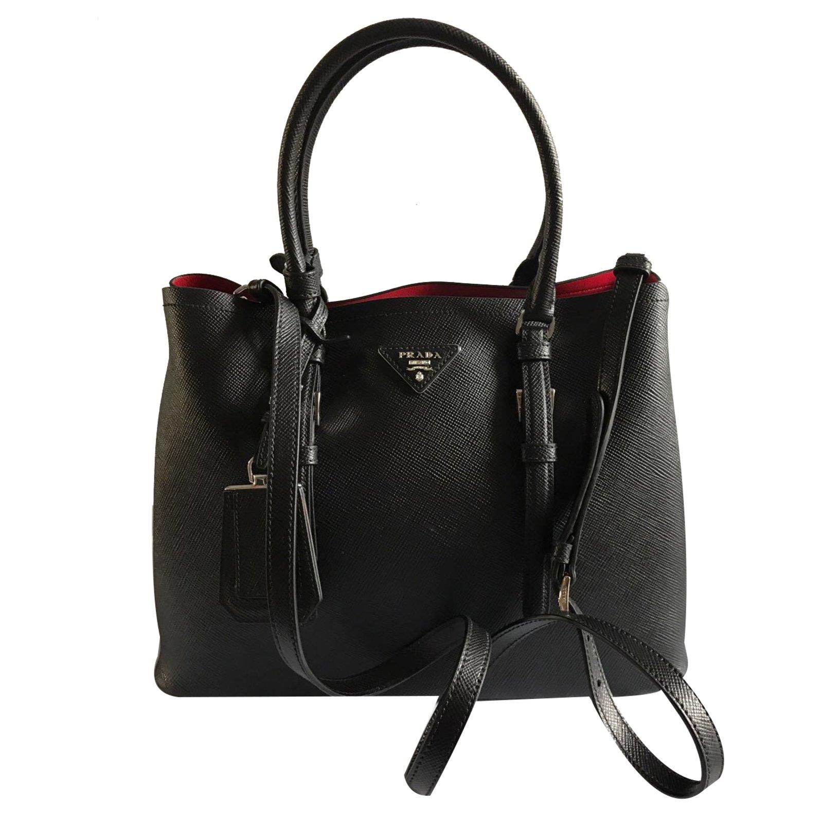 prada double bag handbags leather black joli. Black Bedroom Furniture Sets. Home Design Ideas