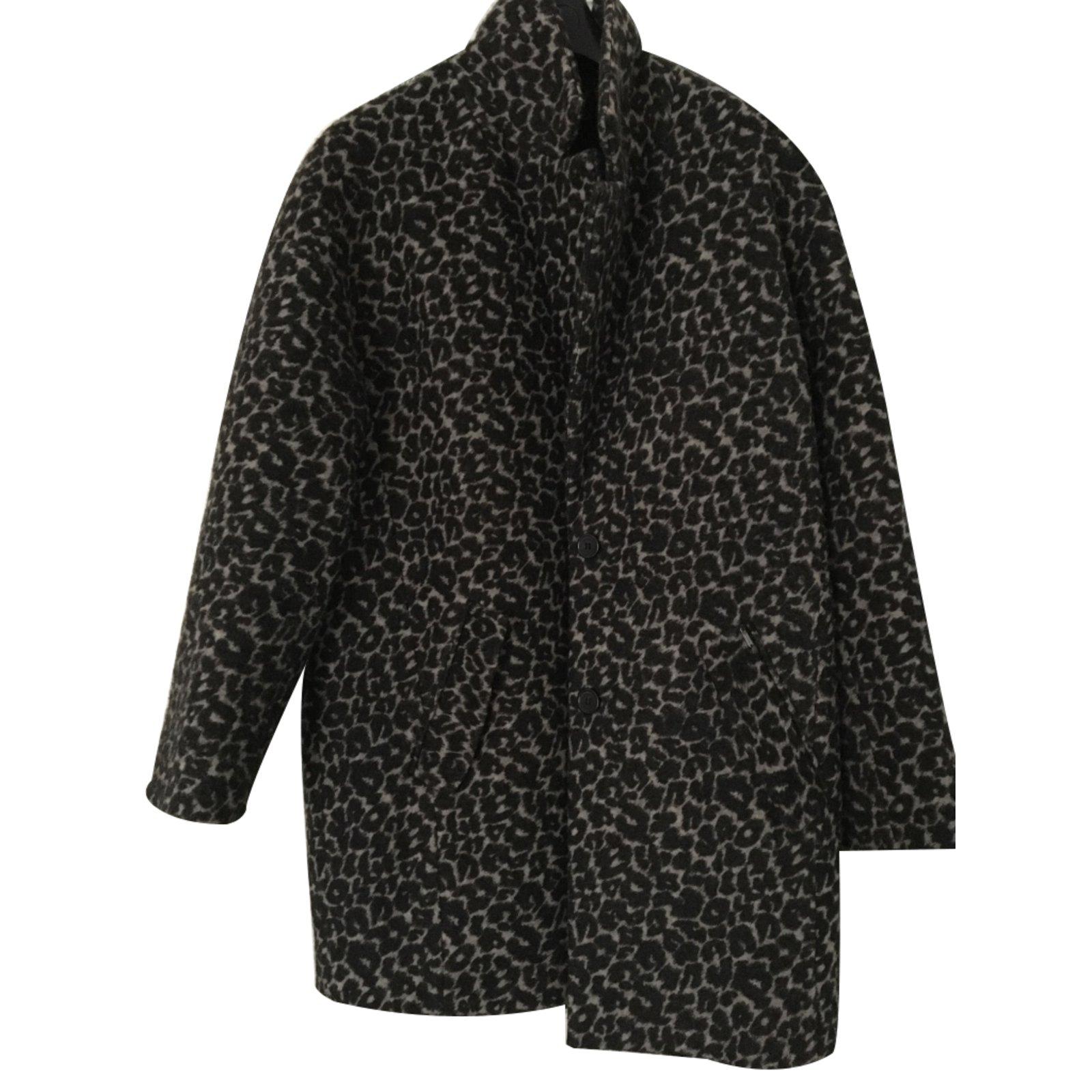 manteaux ikks manteau laine noir imprim l opard gris anthracite joli closet. Black Bedroom Furniture Sets. Home Design Ideas
