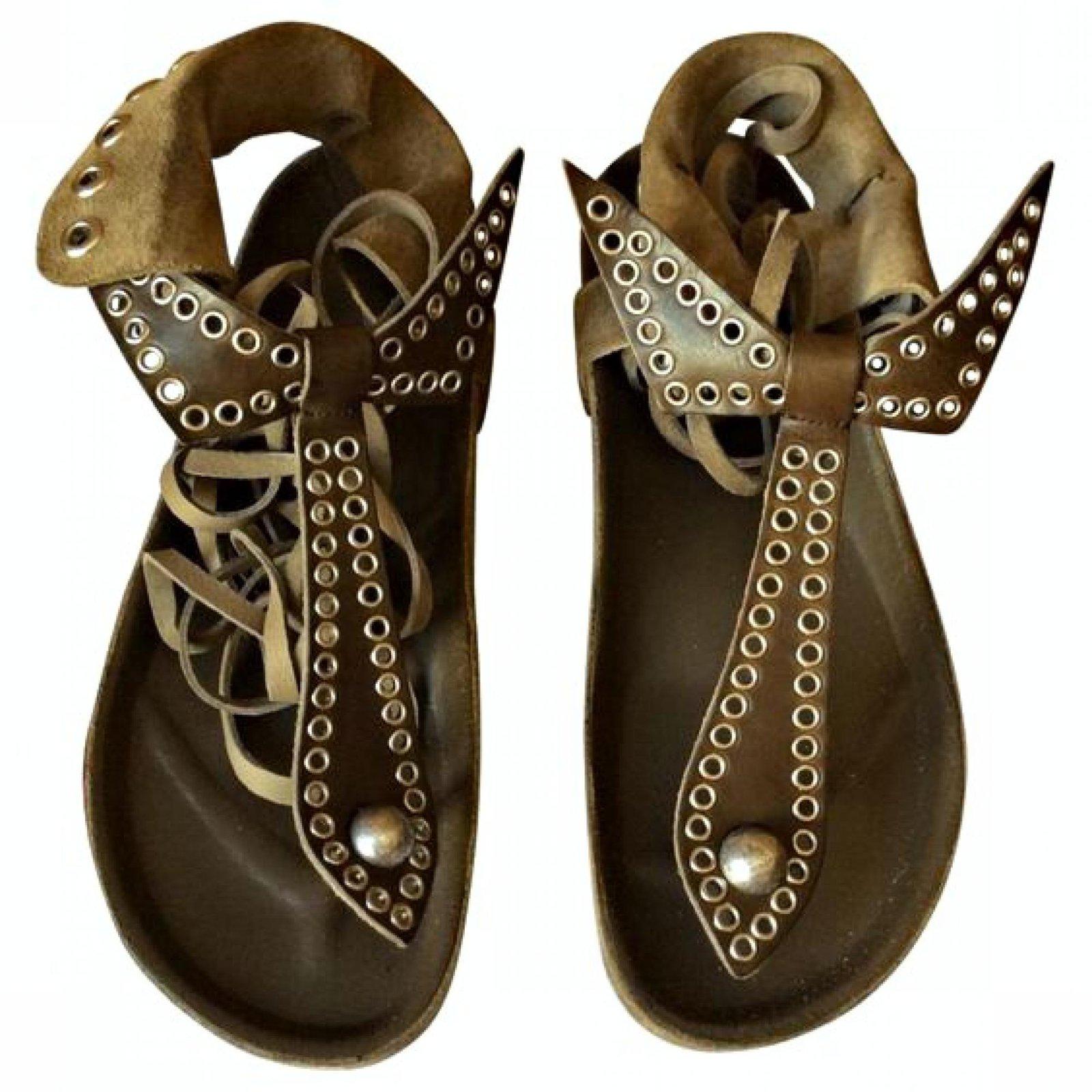 d37b73adb99f Isabel Marant Edris Sandals Leather Khaki ref.32019 - Joli Closet