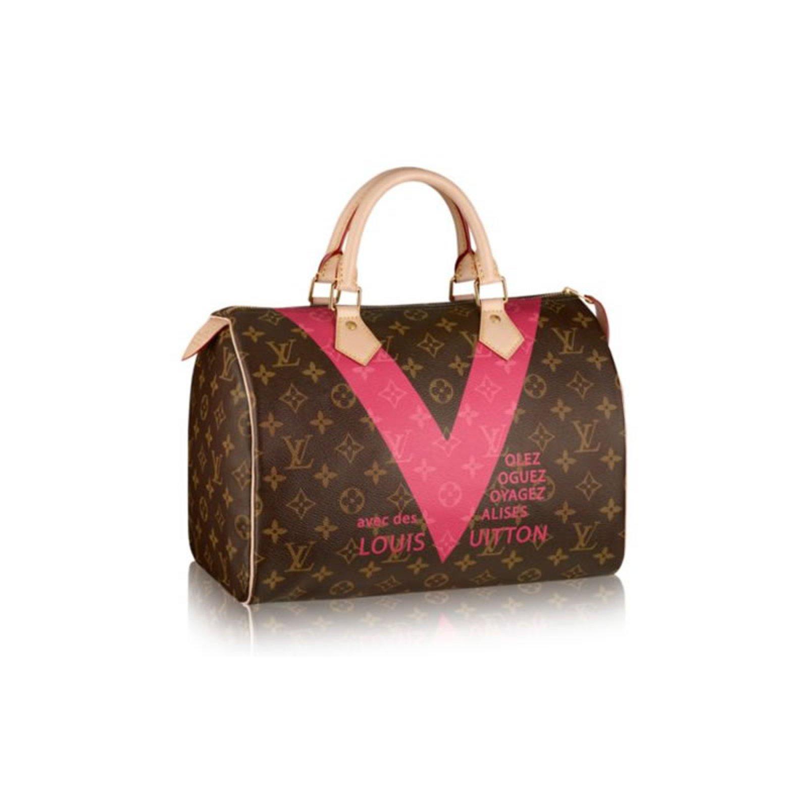 Sacs à main Louis Vuitton SPEEDY 30 V MONO GRENADE Cuir Rose ref.32195 10738beb0387