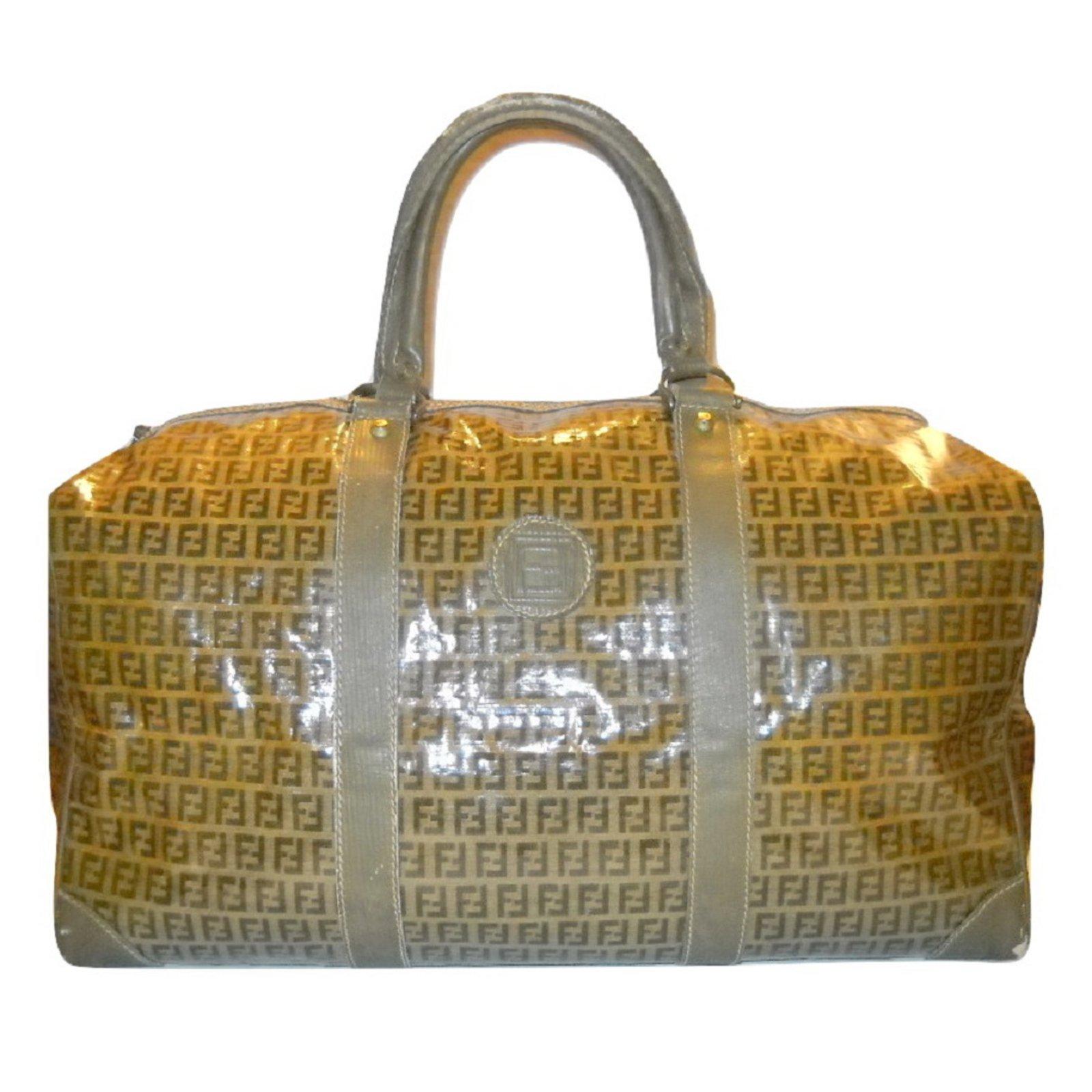9d500b94b0 ... usa fendi fendi vintage travel bag bags briefcases leathercloth  brownbeige ref.32412 bbdb7 cd4f0