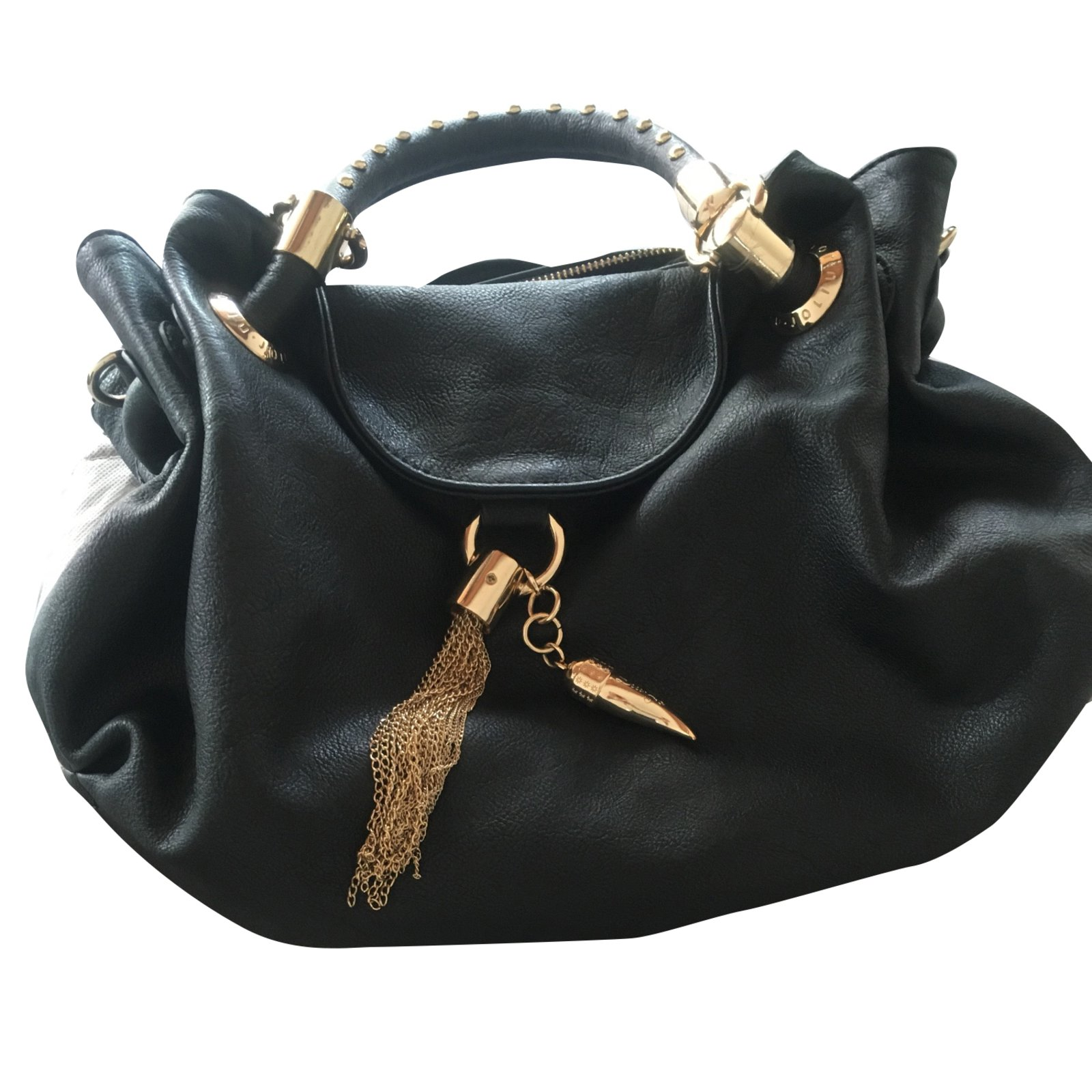site réputé 2c650 05385 Sac noir porté main (ou bride) clouté et accessoires dorés LIU JO