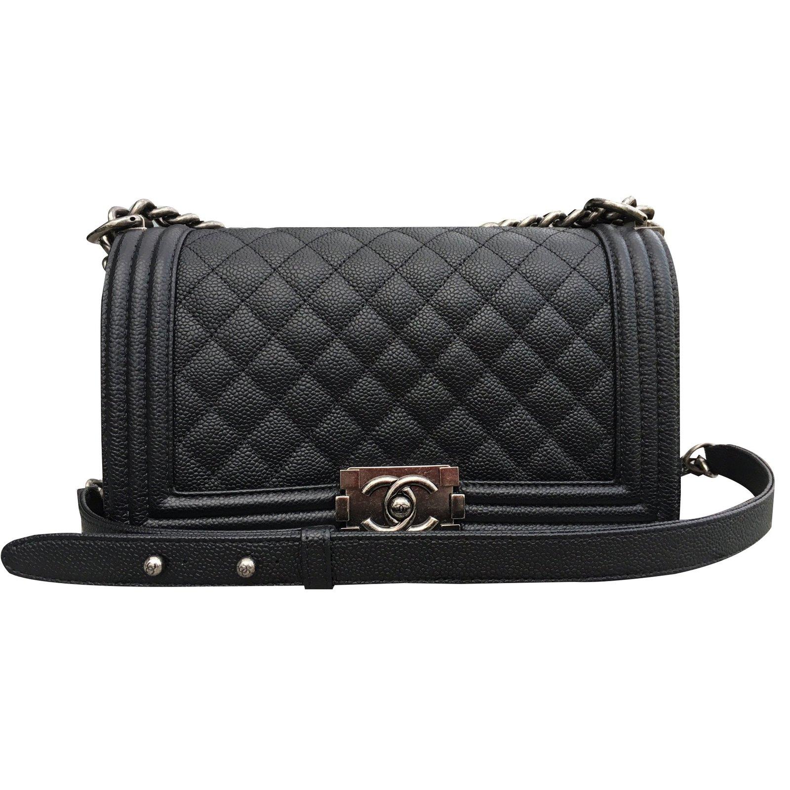 e1a97dc506a2 Chanel Boy Old Medium caviar Handbags Leather Black ref.32779 - Joli ...