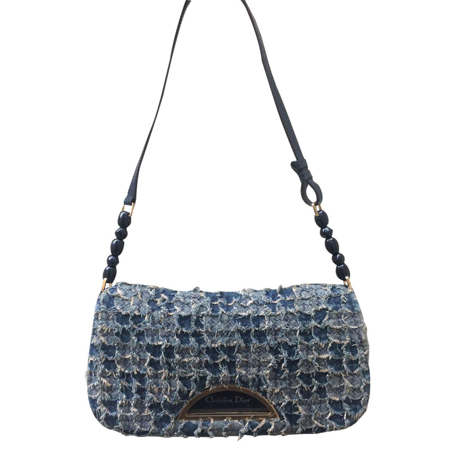 sacs main dior sacs main tissu bleu joli. Black Bedroom Furniture Sets. Home Design Ideas