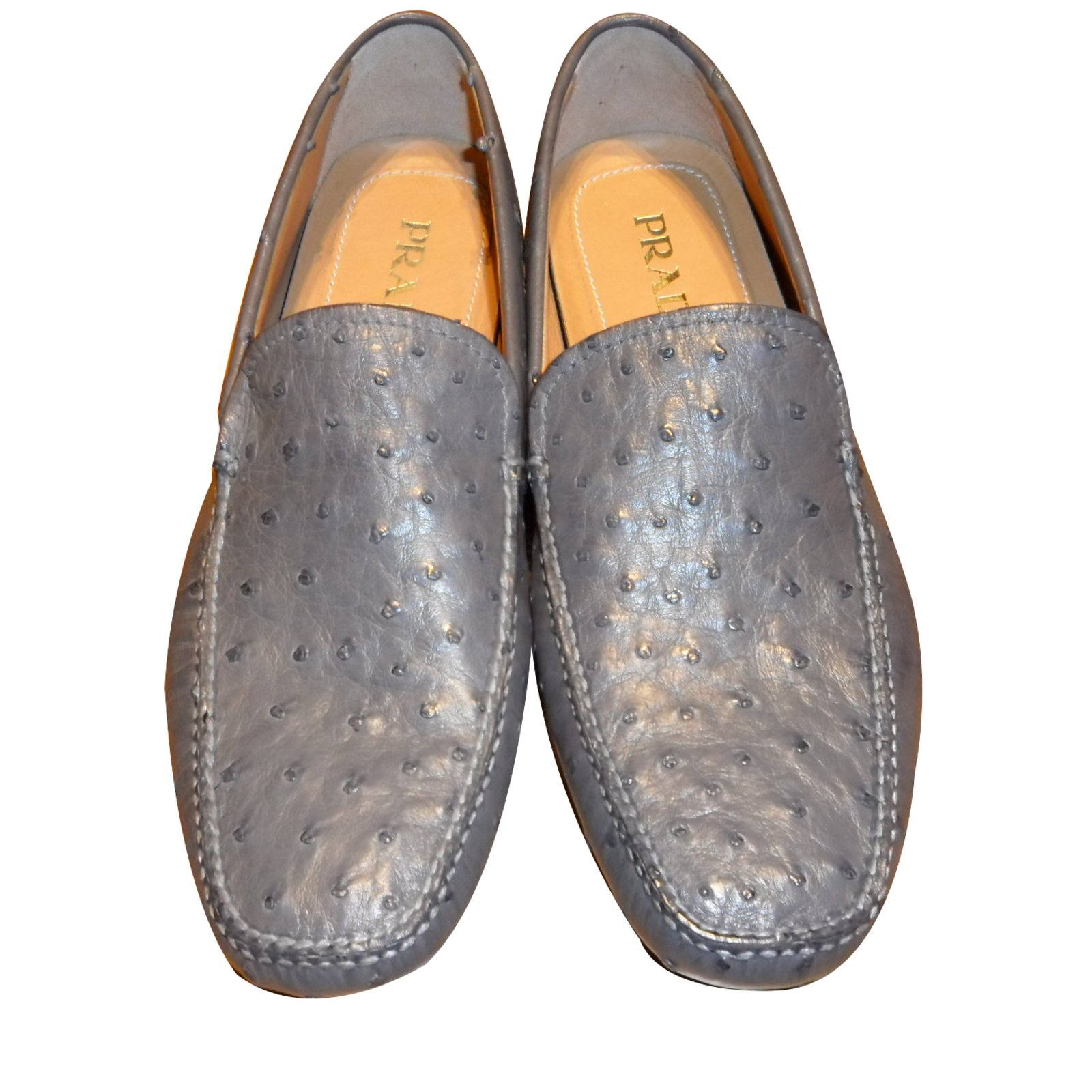 bf1703913a7 Prada PRADA BRAND NEW MEN S OSTRICH LEATHER DRIVING SHOES Loafers Slip ons  Other Grey ref.