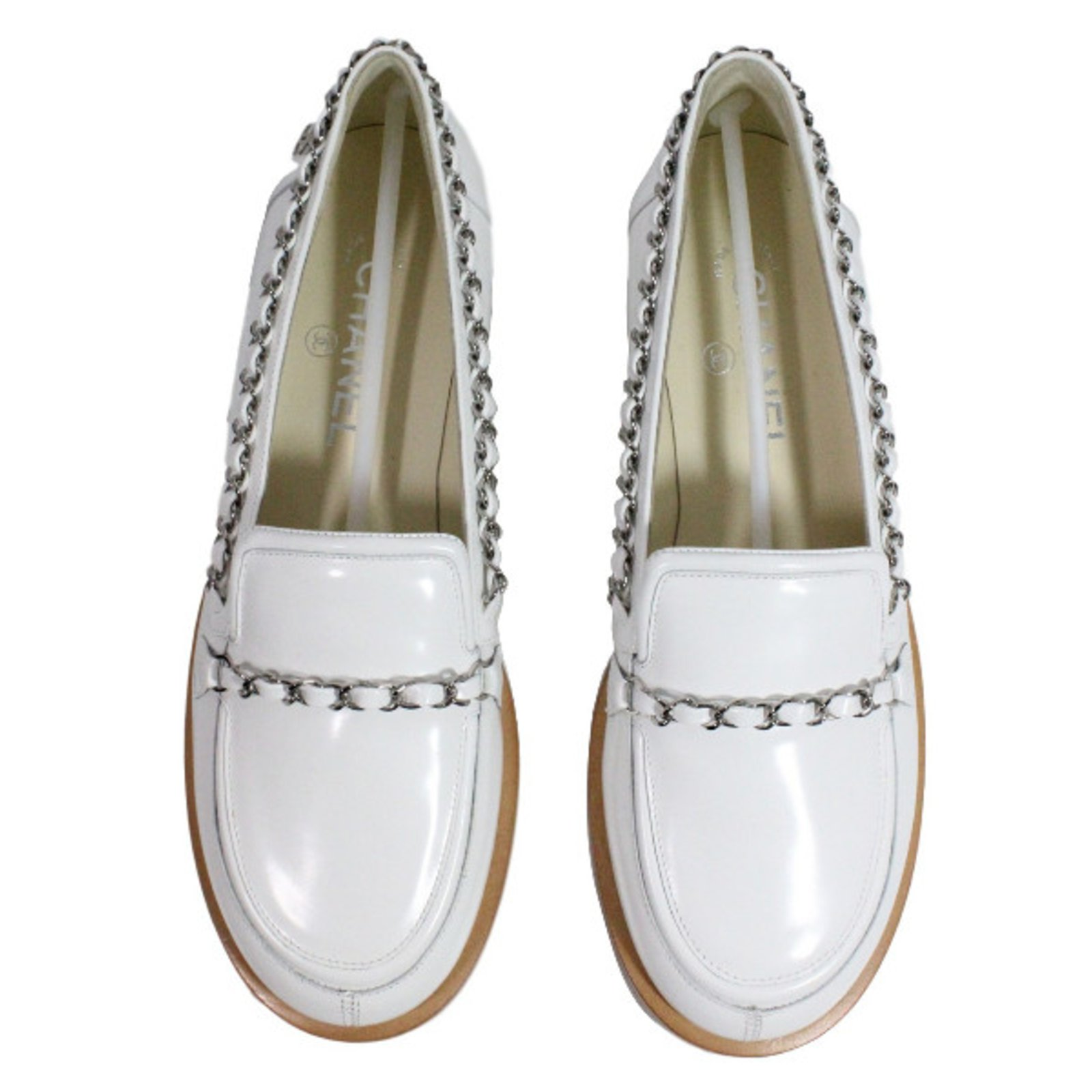 Chanel Loafers Flats Leather White ref