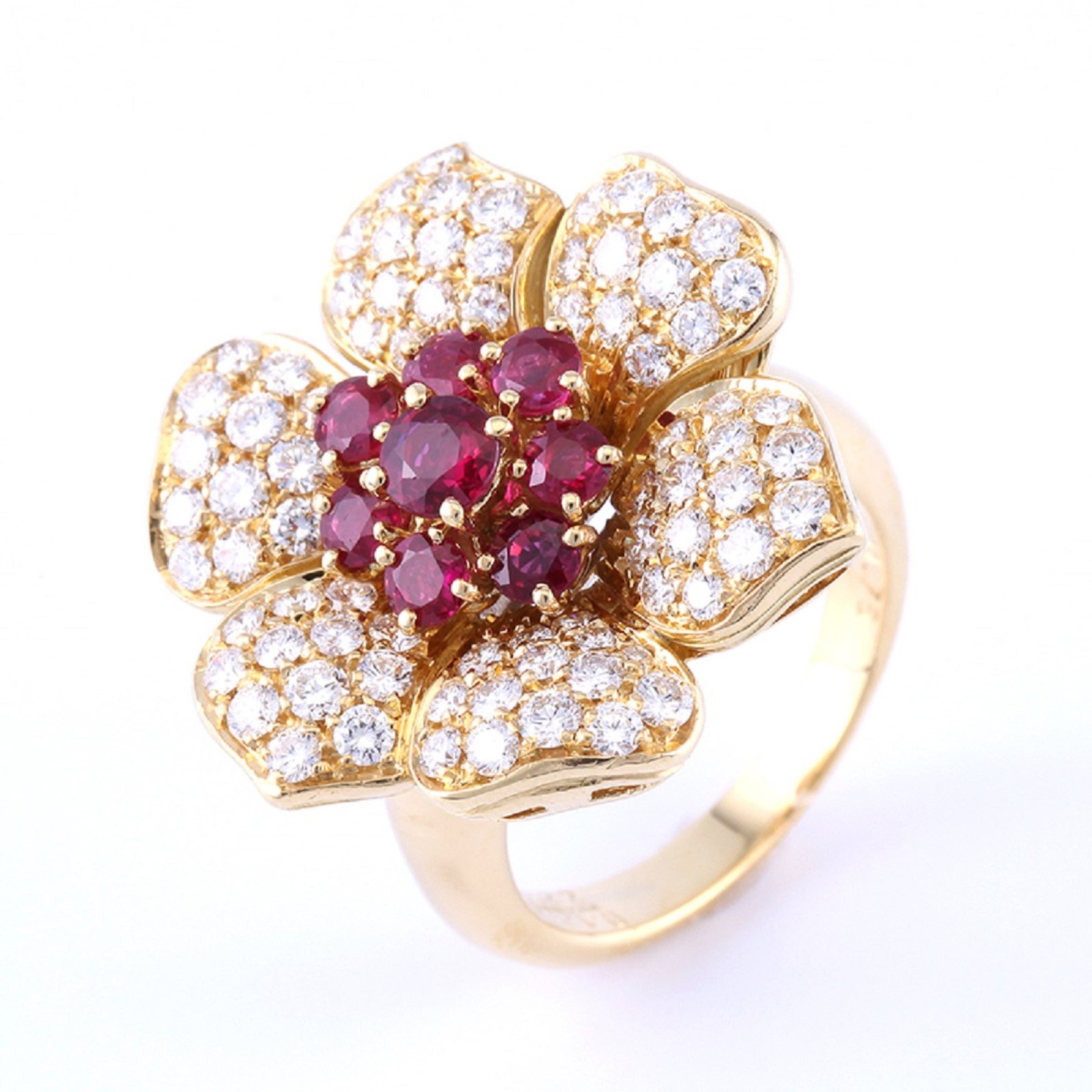 Picchiotti picchiotti 18k gold diamond ruby cocktail flower ring picchiotti picchiotti 18k gold diamond ruby cocktail flower ring rings yellow gold golden ref33041 mightylinksfo