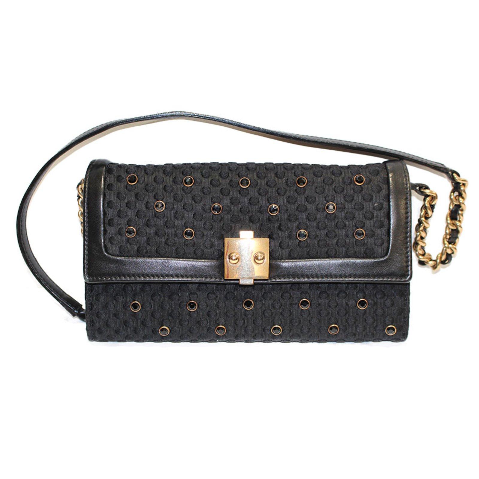 Marc Jacobs Black Swarovski Cristals Handbag Handbags Leather Cloth Golden Ref 33106
