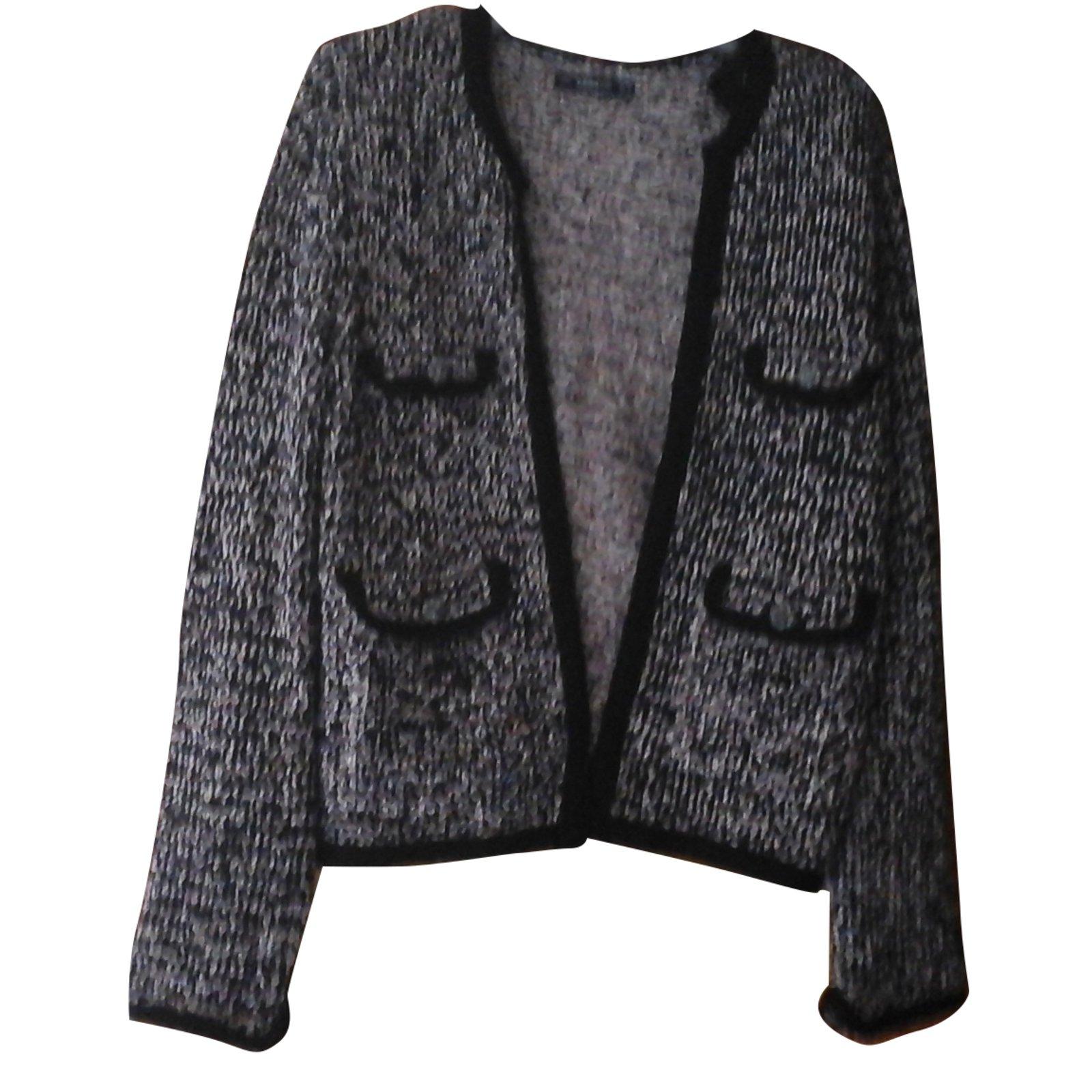 Vestes Zara Petite veste courte Zara Tweed blanc noir style Chanel  Synthétique Autre ref.33513 c9a6f9a8062a