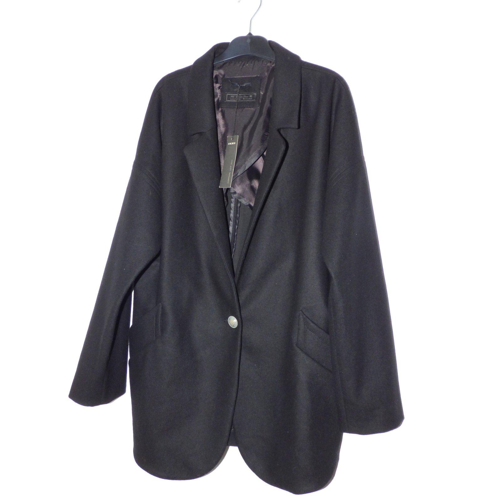 manteaux ikks manteau oversize laine polyamide noir joli closet. Black Bedroom Furniture Sets. Home Design Ideas