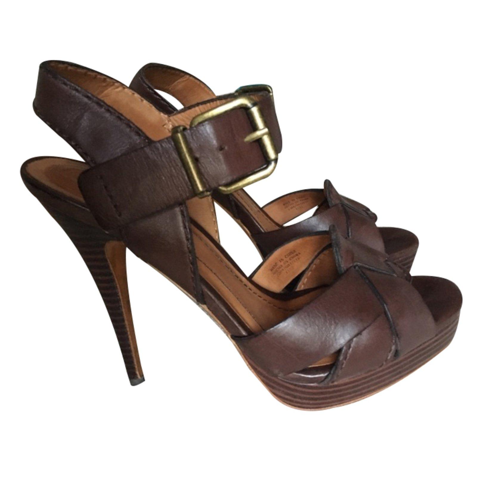 1f0f1121d8c Zara Sandals Sandals Leather Brown ref.33910 - Joli Closet