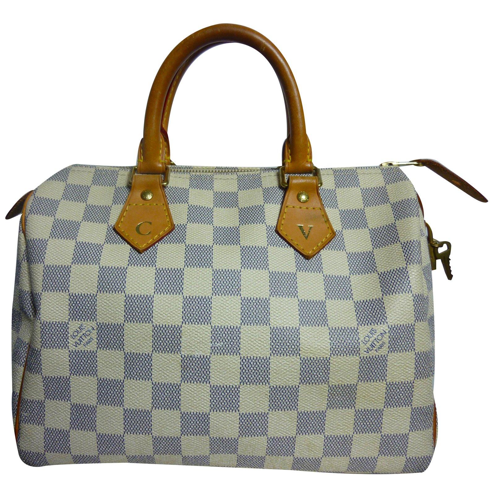 Sacs à main Louis Vuitton Sac Louis Vuitton Speedy 30 à damier azur en  excellent état 48c0bc7a118