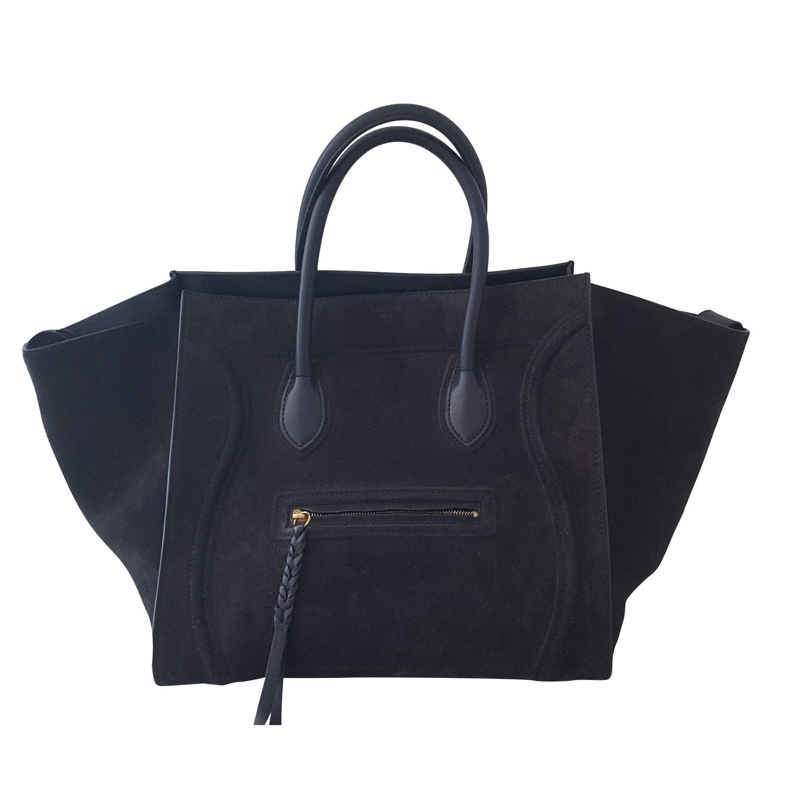 e84adf9805 Céline Céline phantom Luggage Handbags Leather Dark grey ref.34104 ...