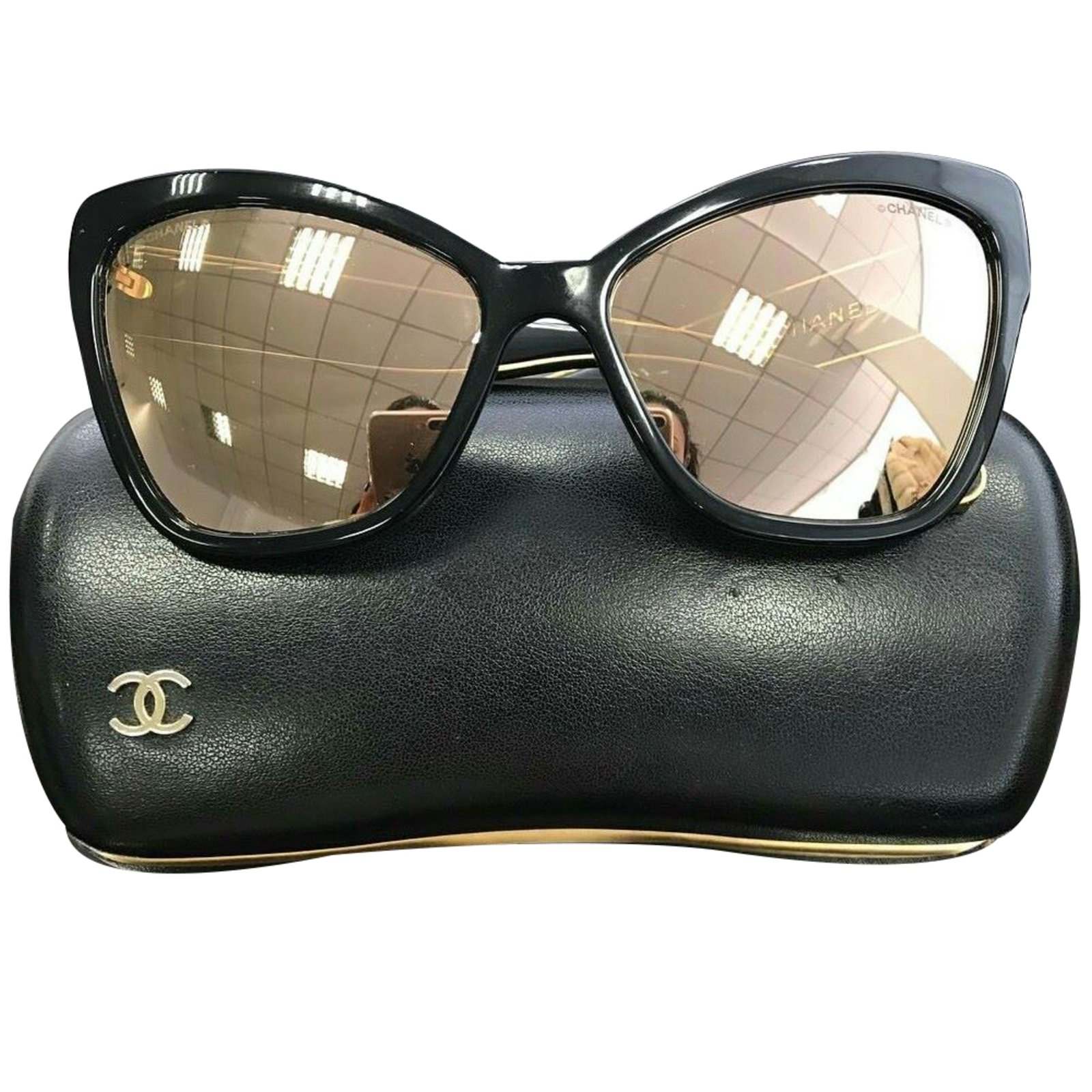 Chanel Cat Eye Sunglasses  chanel cat eye sunglasses plastic black ref 34146 joli closet