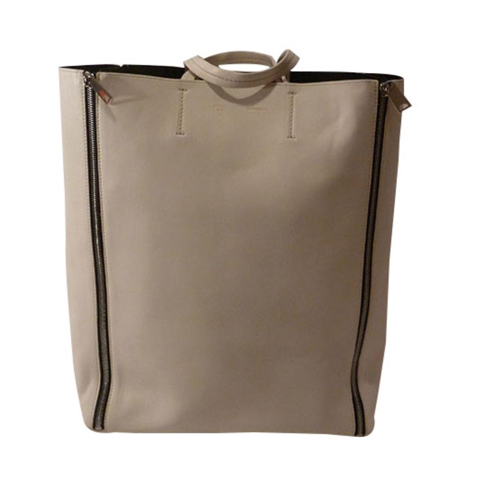 Céline Celine Cabas Vertical Zip Medium Tote Bag Totes Leather Cream  ref.34496 2a80f01457c8b