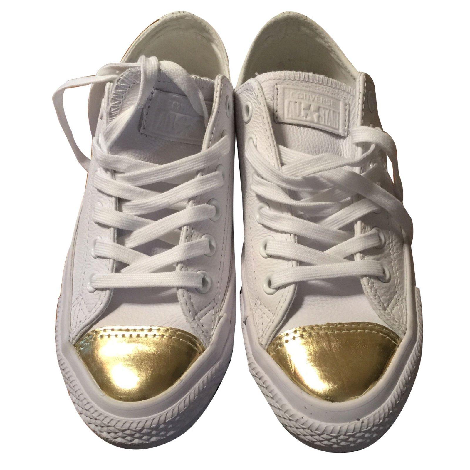 CONVERSE Basket blanche et dorée à lacets, en cuir