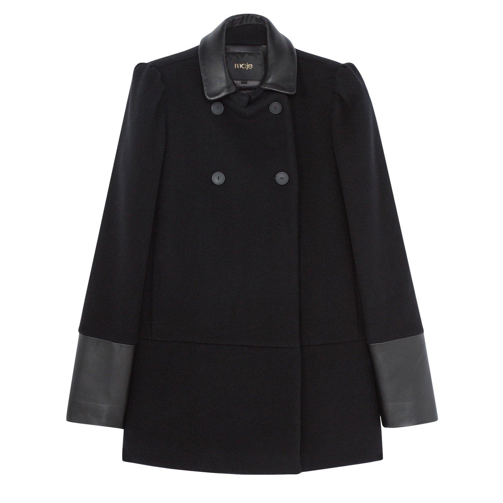 manteaux maje manteau laine noir joli closet. Black Bedroom Furniture Sets. Home Design Ideas