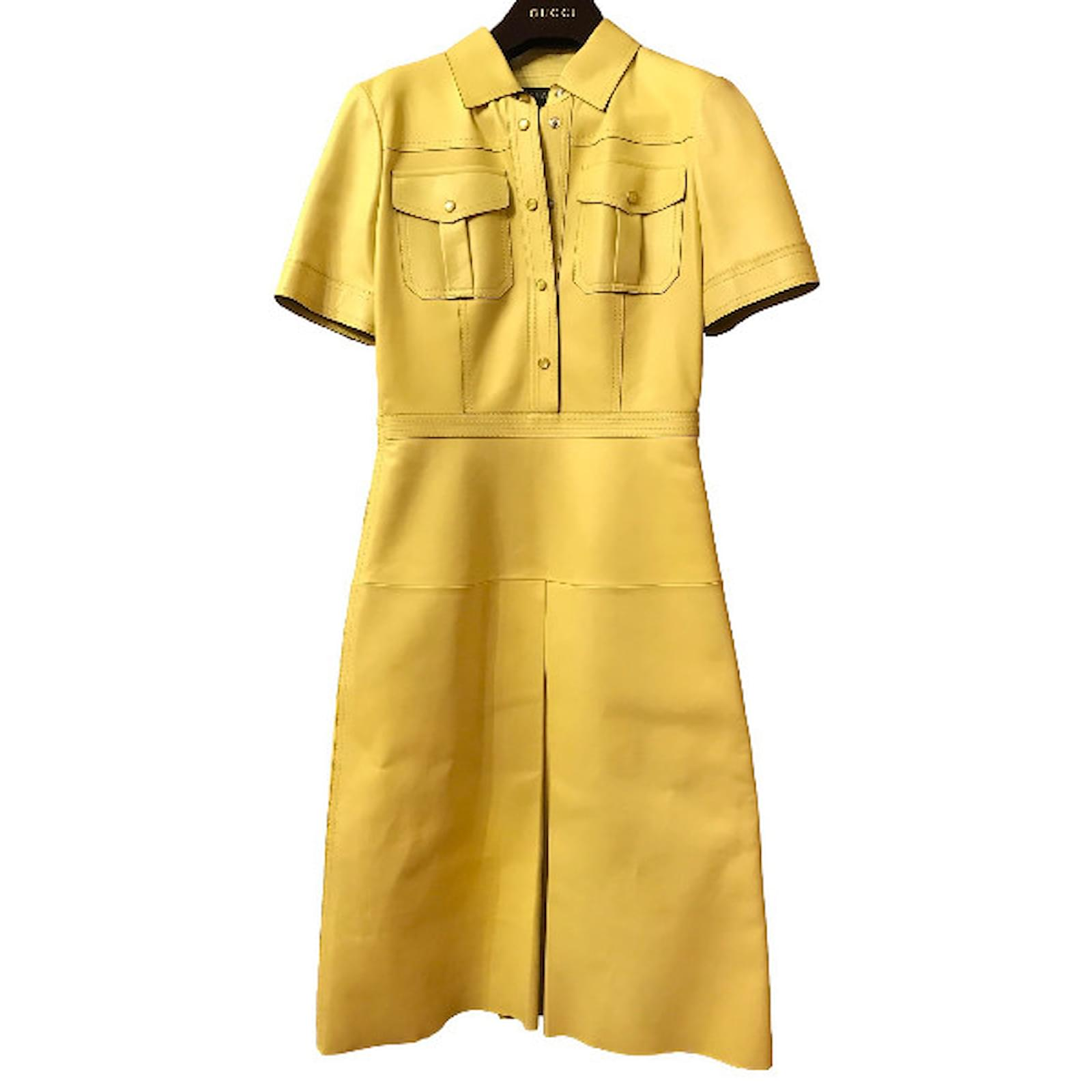 Gucci Gucci leather dress size IT40 Dresses Leather Yellow ref.34964