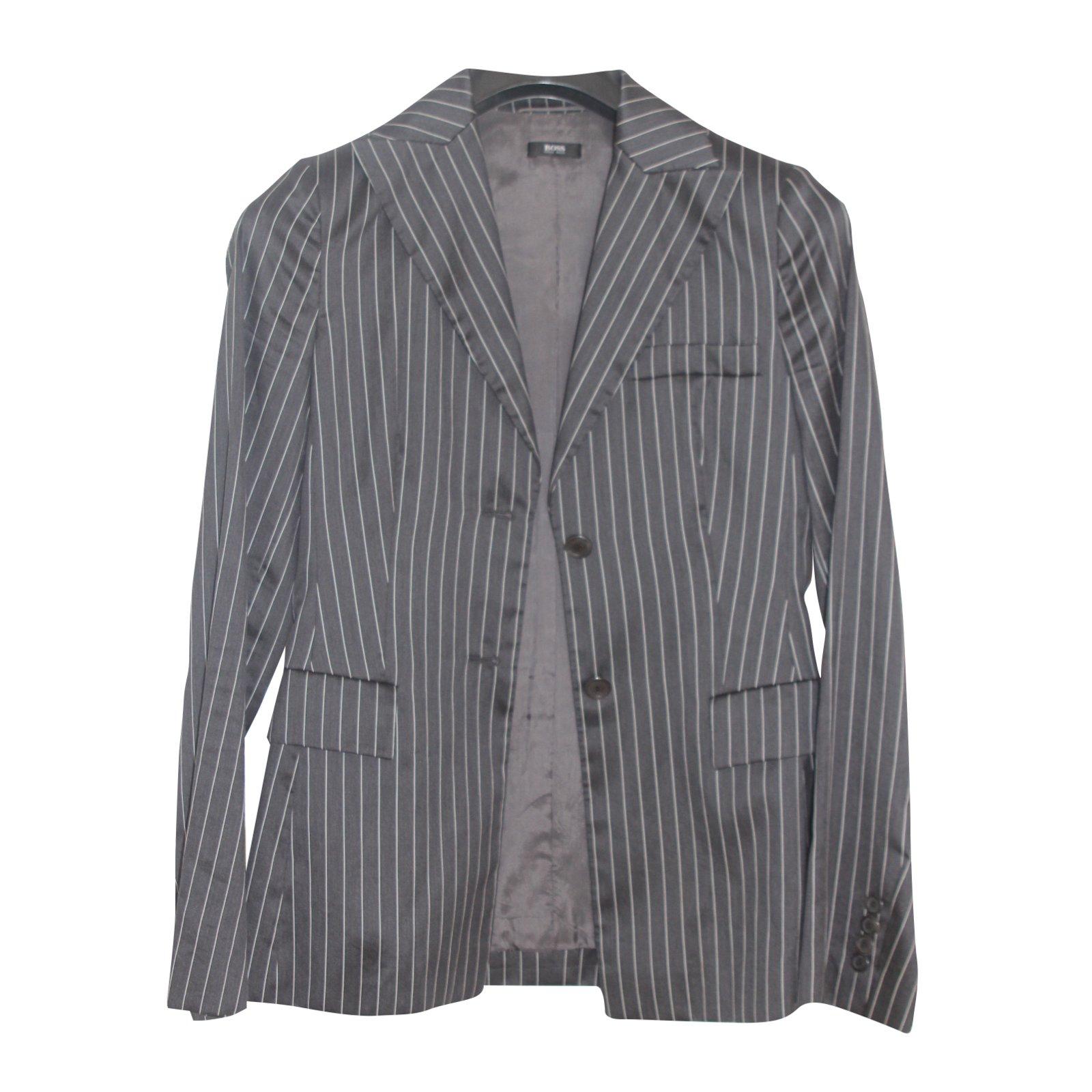 ec599c862 Hugo Boss Jacket Jackets Silk,Cotton Dark grey ref.35161 - Joli Closet