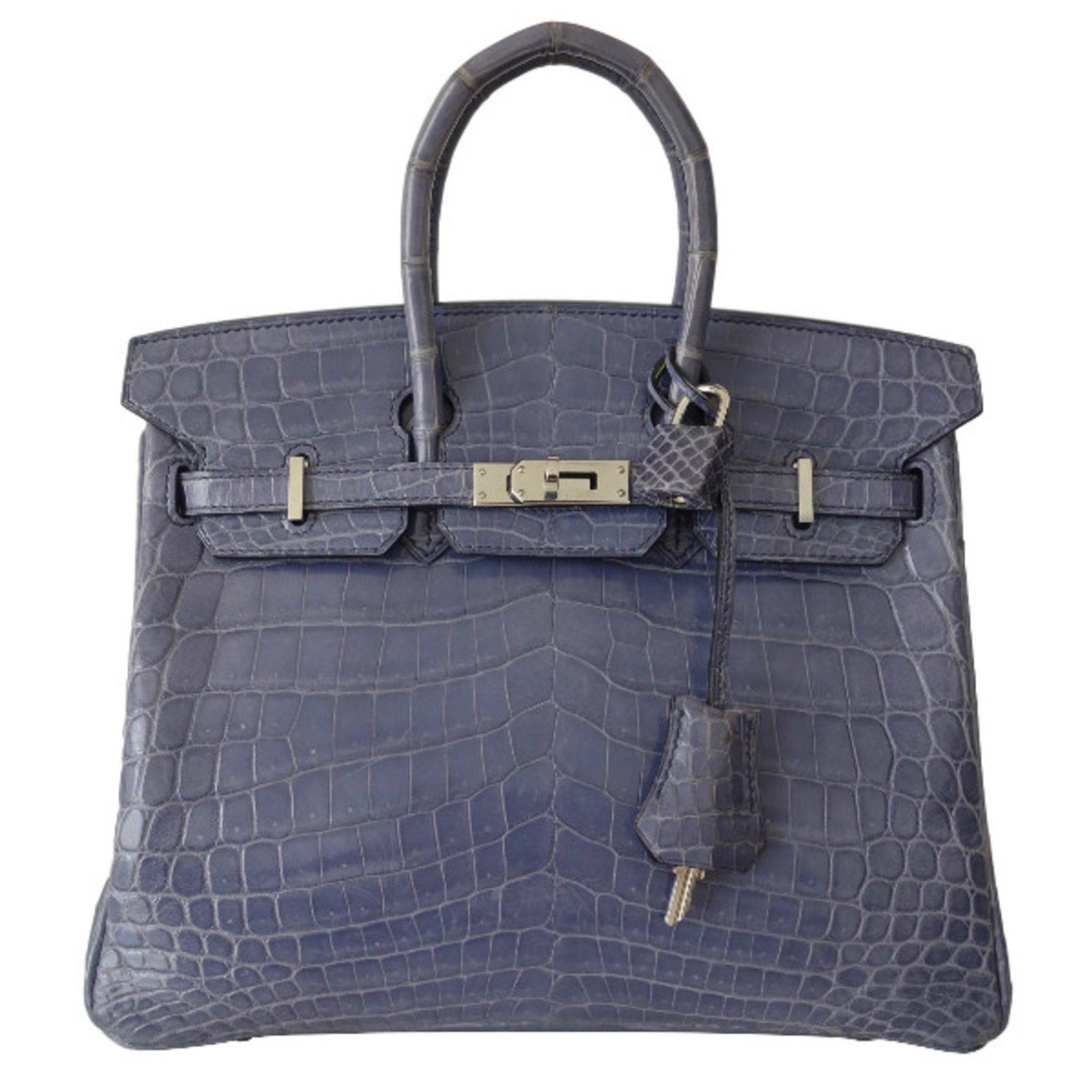 32a2e57990f4 Sacs à main Hermès SAC HERMES BIRKIN CROCODILE 25 Cuirs exotiques  Bleu,Violet ref.