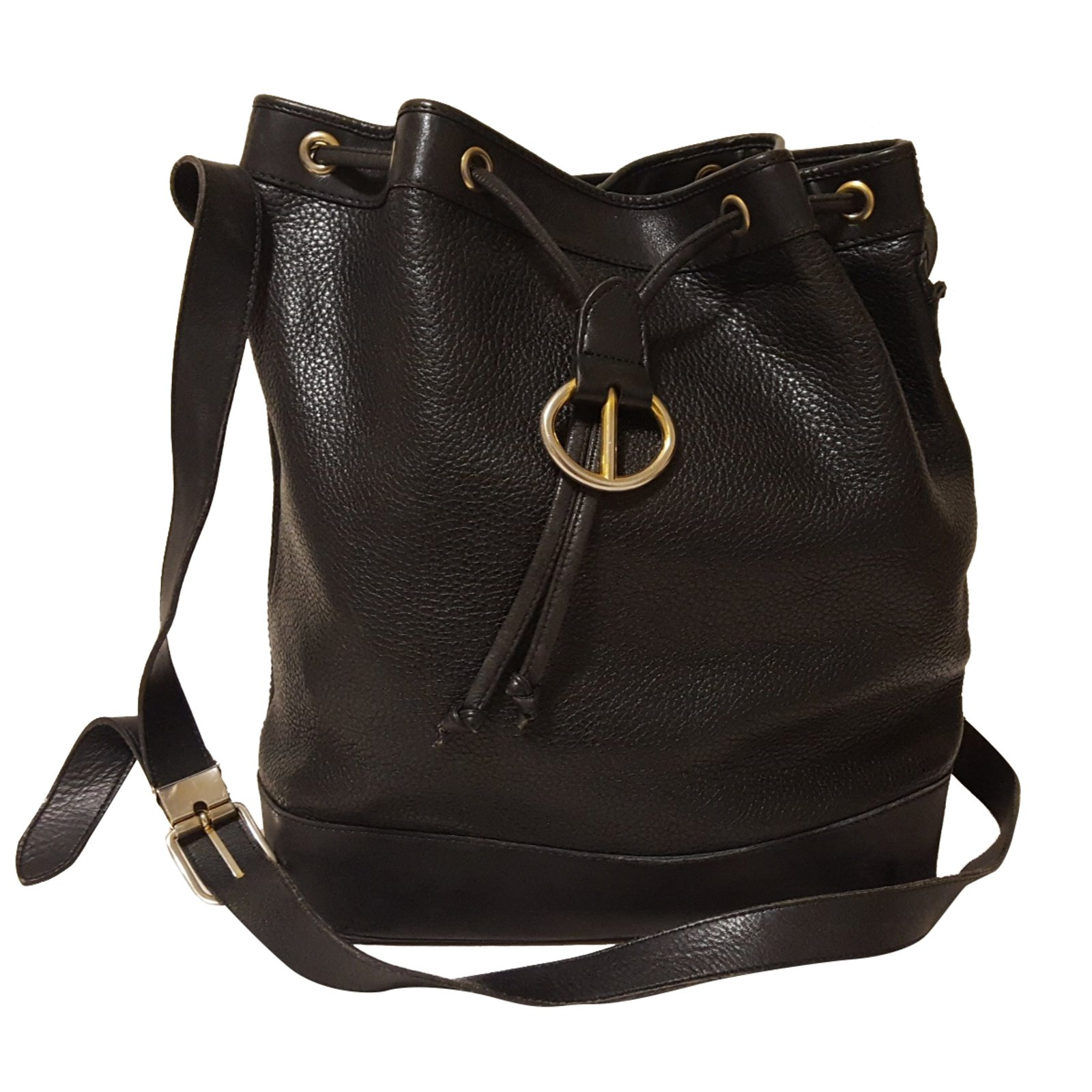 sacs main dior sac seau cuir noir joli closet. Black Bedroom Furniture Sets. Home Design Ideas