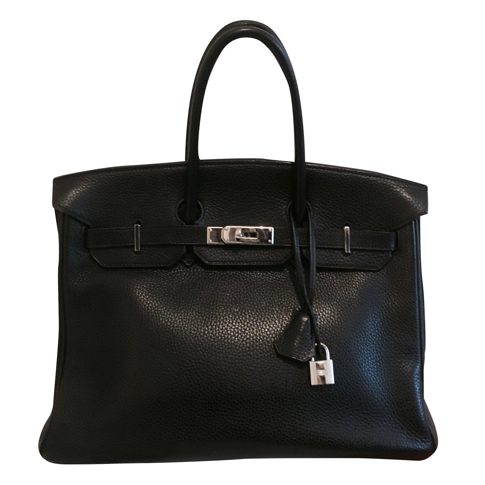 a09f5e60c8fe Sacs à main Hermès Sac HERMES Birkin cuir Togo noir 35 cm Cuir Noir ref.