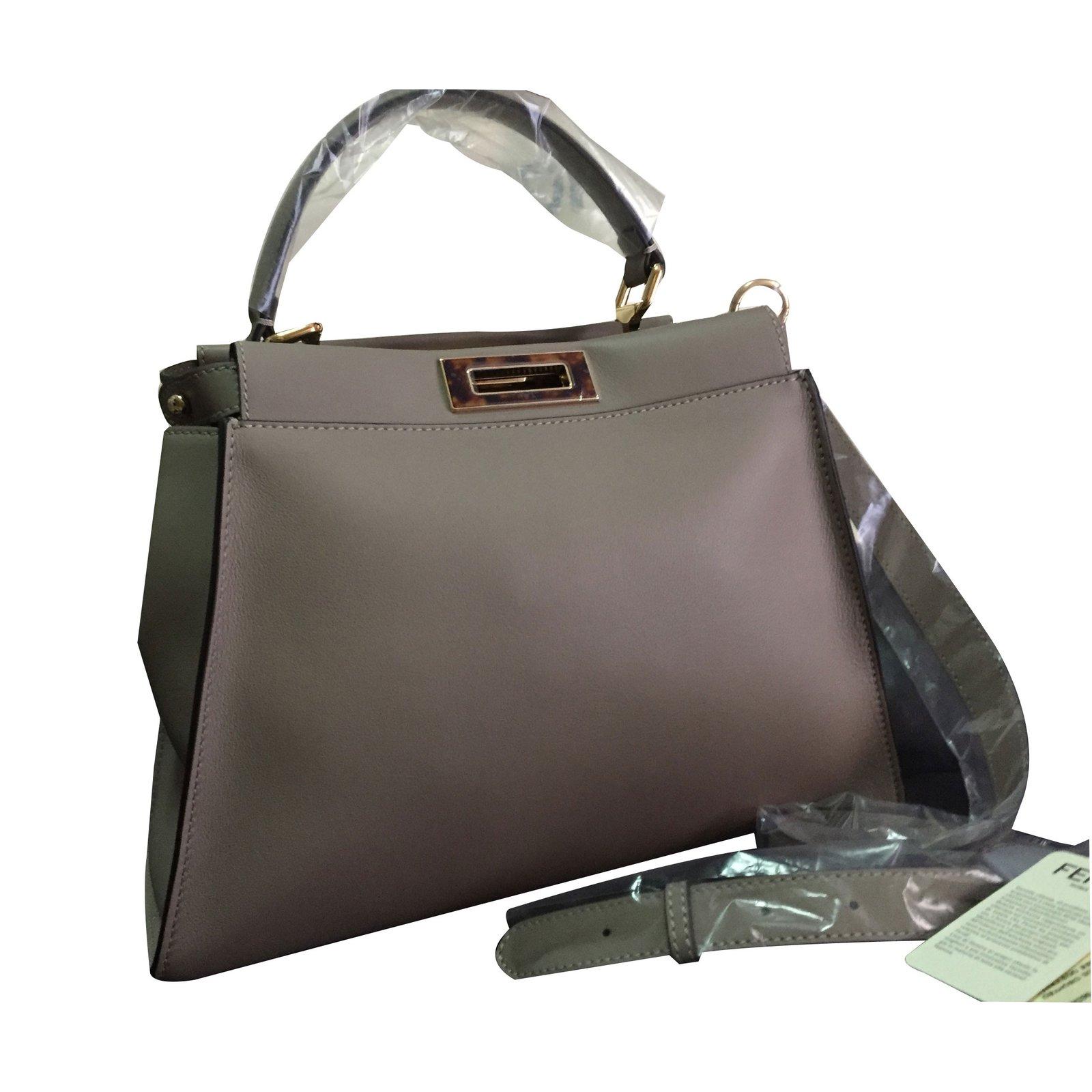 ee1337dcf2d9 Fendi Handbags Handbags Leather Grey ref.35270 - Joli Closet