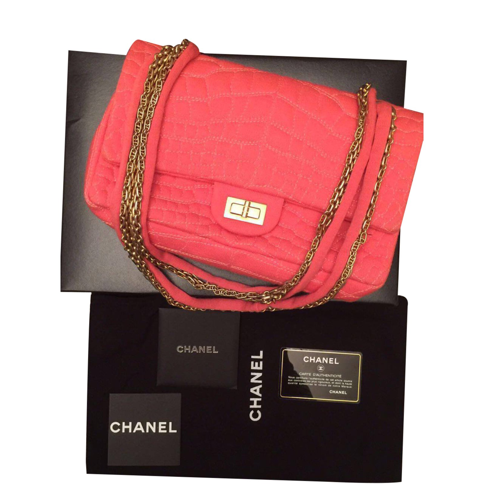 chanel jersey. chanel jersey croc double flap with mirror handbags cloth orange ref.35343