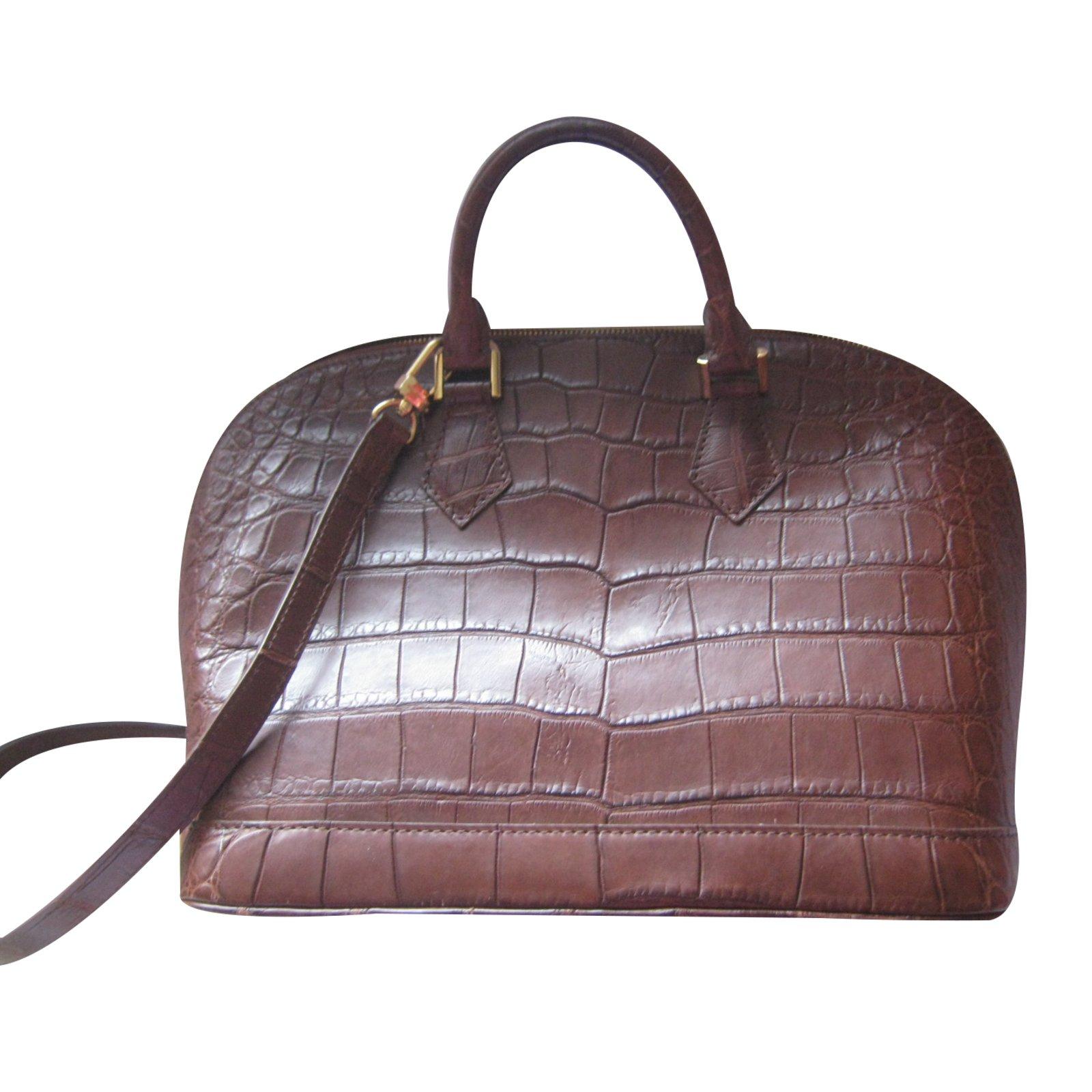 bacef731fd04 Louis Vuitton Alma Alligator Havane Matte Handbags Exotic leather Brown  ref.35429