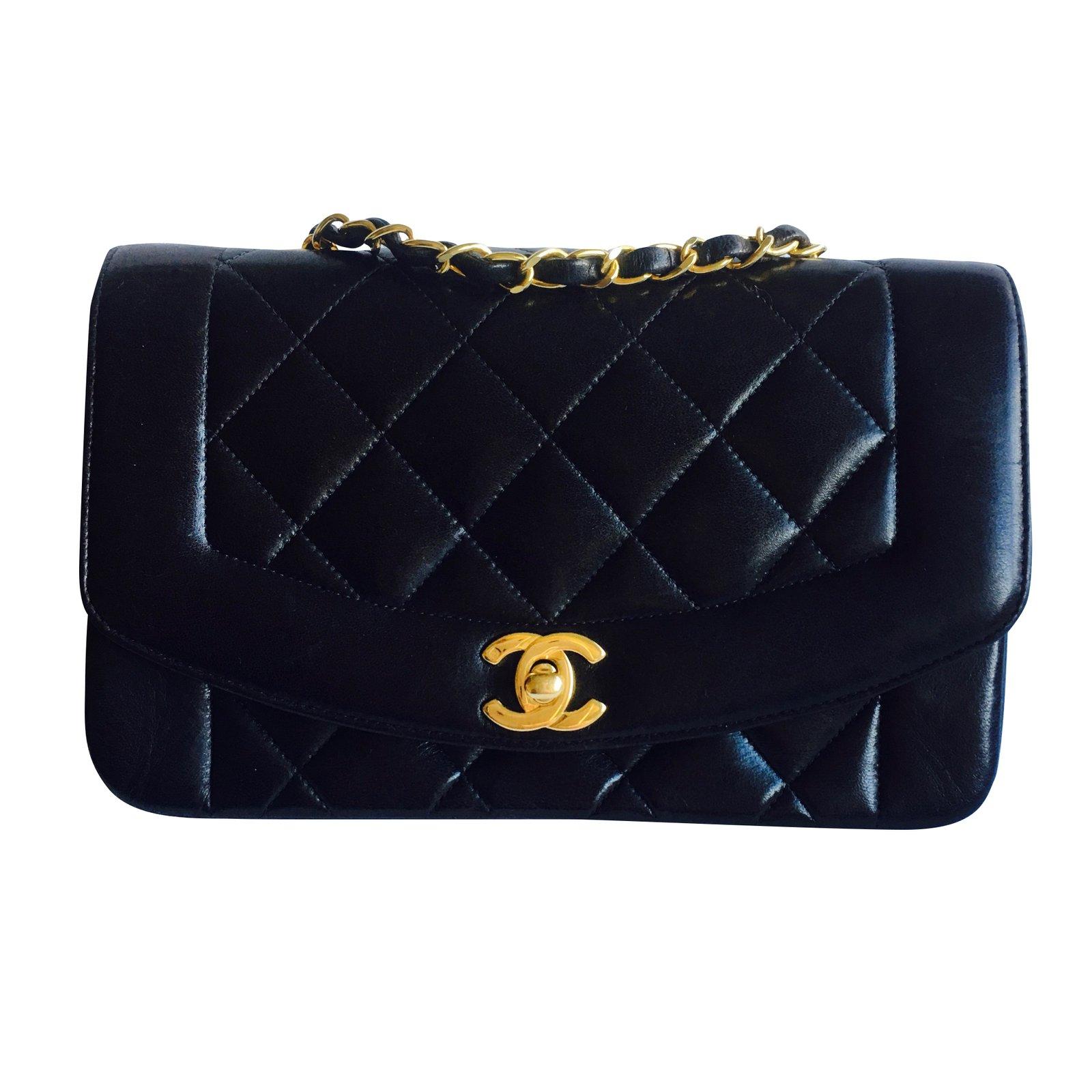 Chanel timeless vintage diana handbags leather black ref - Vintage chanel ...