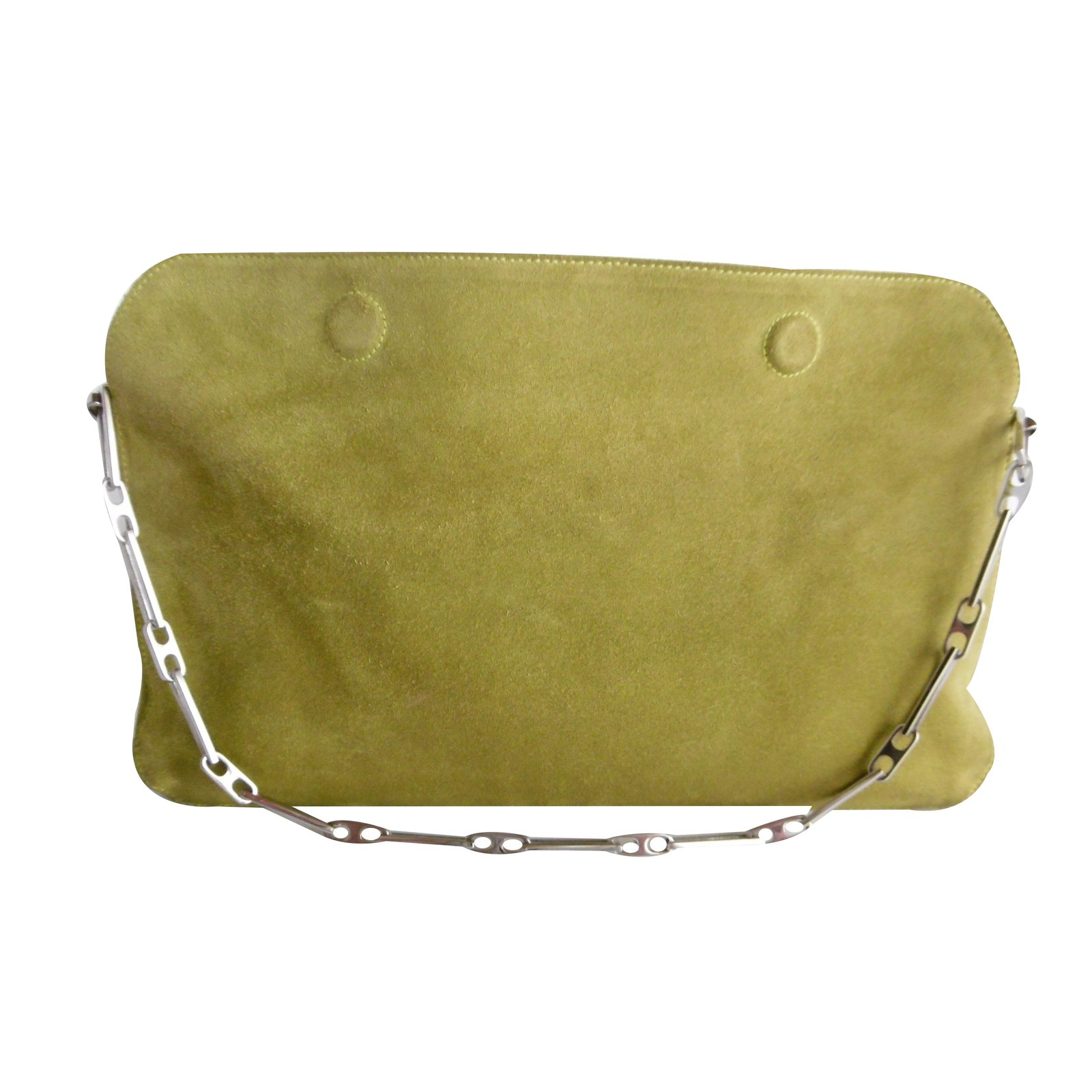 Nina Ricci Rectangular Chain Suede Shoulder Bag Handbags Green Ref 35811